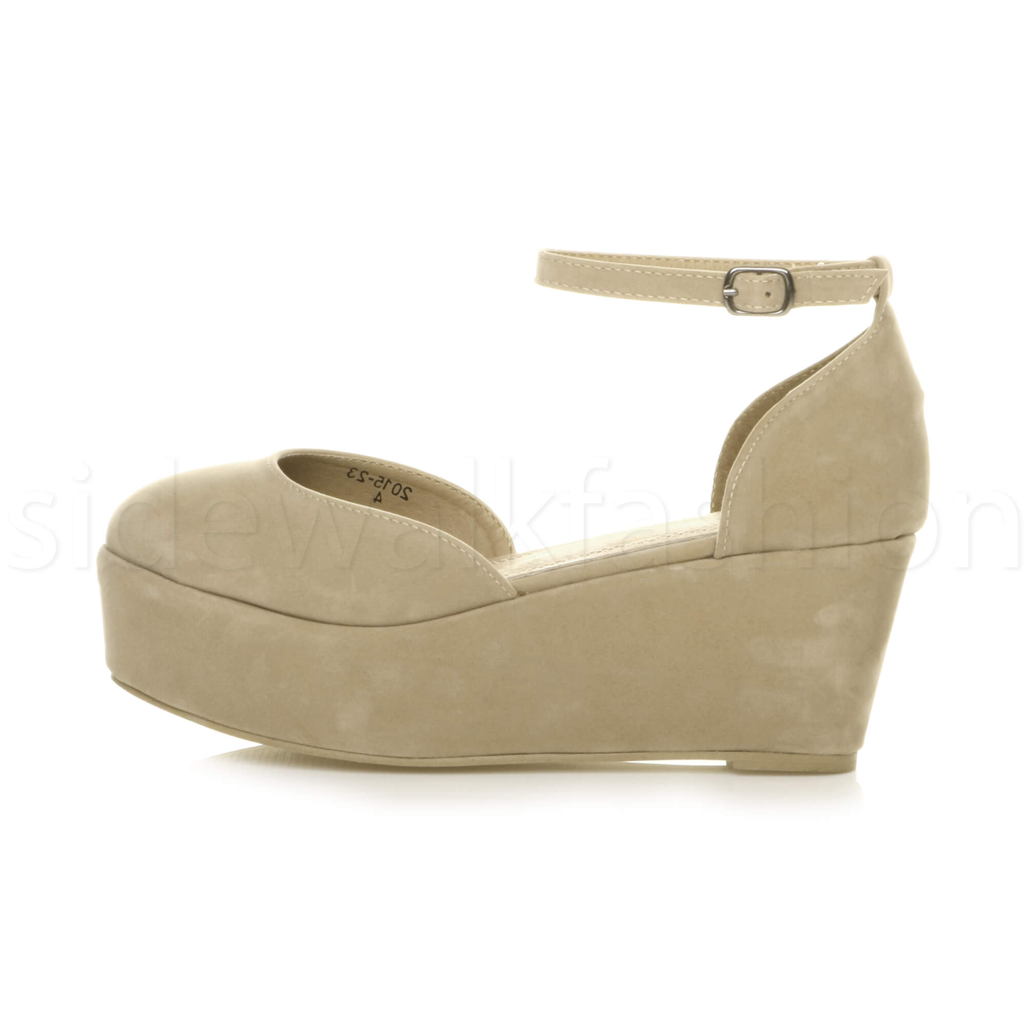 Womens-ladies-flatform-mid-wedge-ankle-strap-platform-court-shoes-sandals-size thumbnail 51