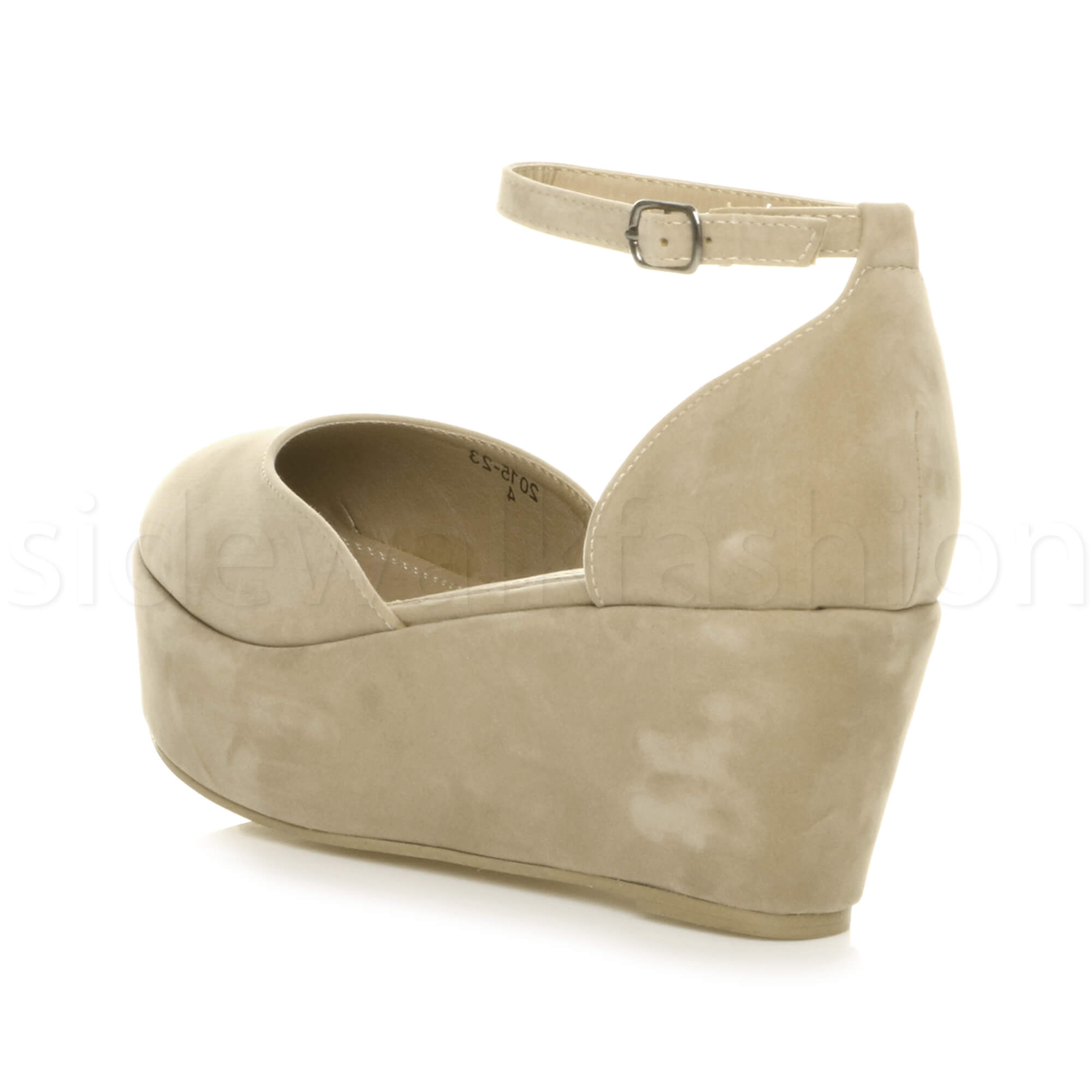 Womens-ladies-flatform-mid-wedge-ankle-strap-platform-court-shoes-sandals-size thumbnail 53