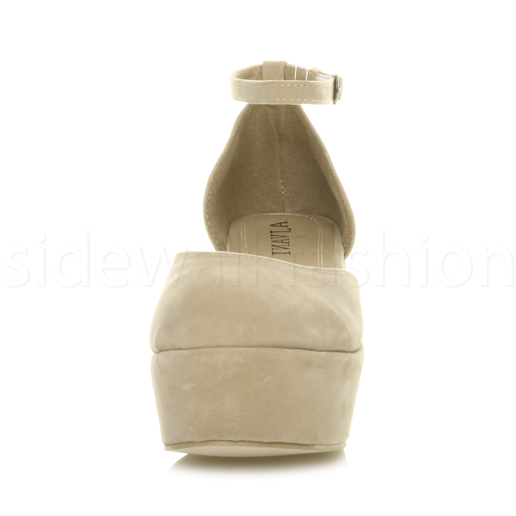 Womens-ladies-flatform-mid-wedge-ankle-strap-platform-court-shoes-sandals-size thumbnail 55