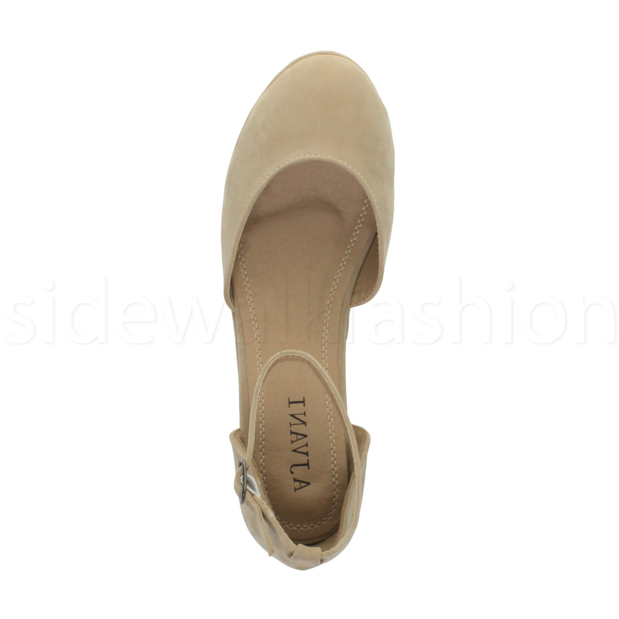 Womens-ladies-flatform-mid-wedge-ankle-strap-platform-court-shoes-sandals-size thumbnail 56