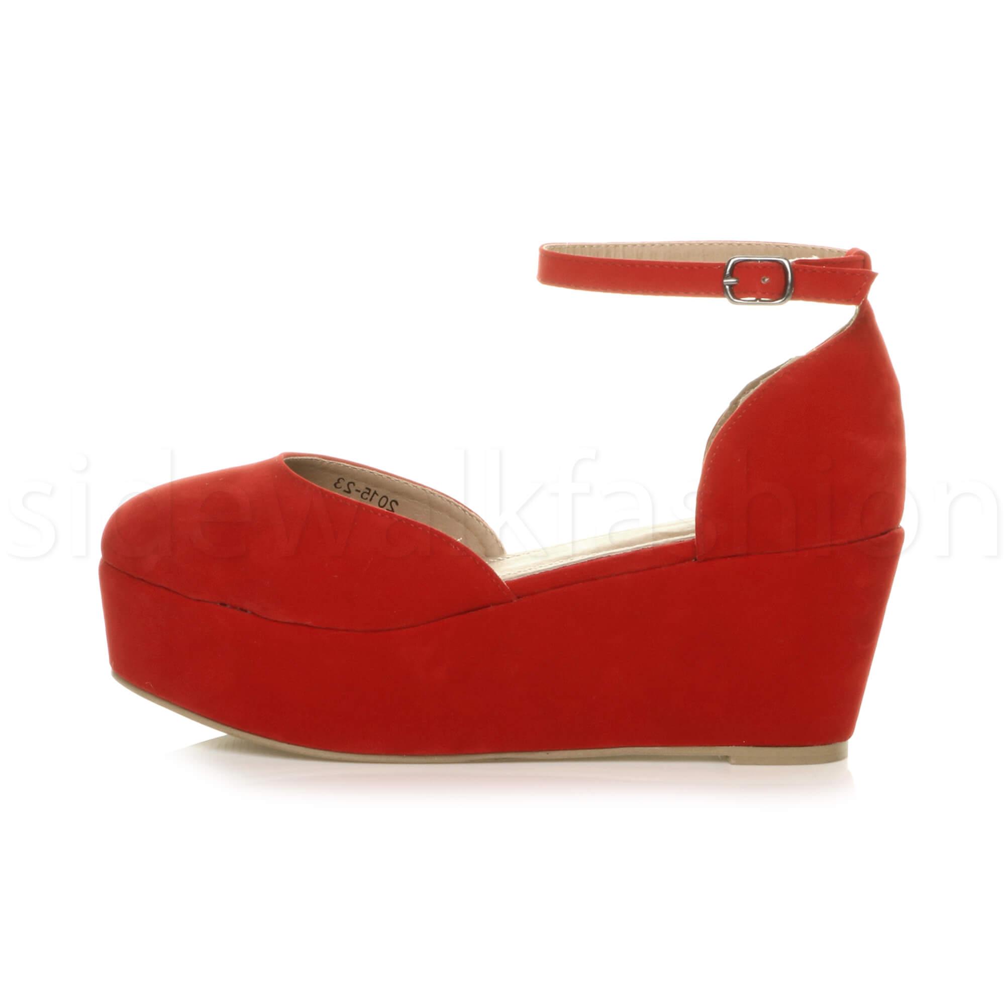 Womens-ladies-flatform-mid-wedge-ankle-strap-platform-court-shoes-sandals-size thumbnail 59