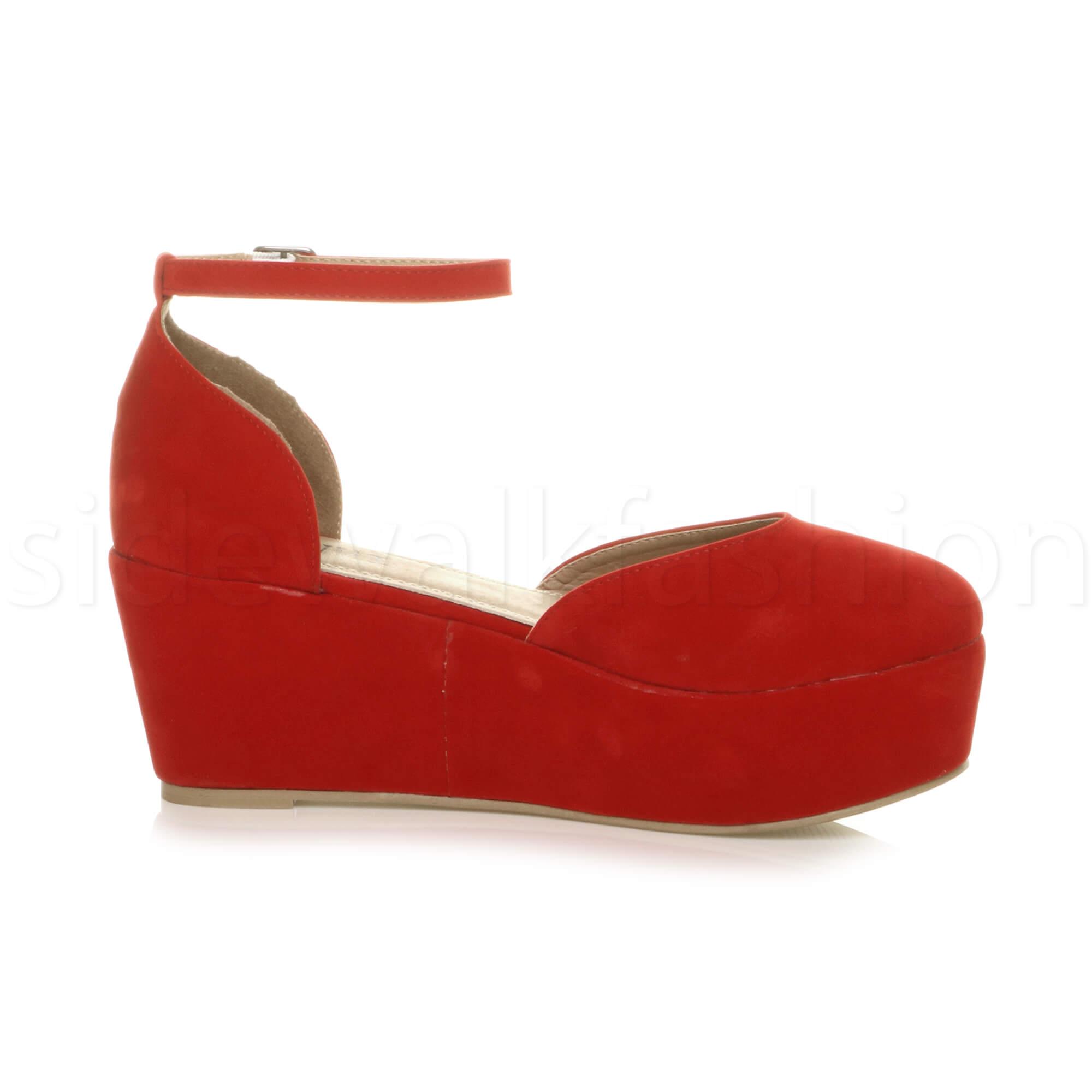 Womens-ladies-flatform-mid-wedge-ankle-strap-platform-court-shoes-sandals-size thumbnail 60