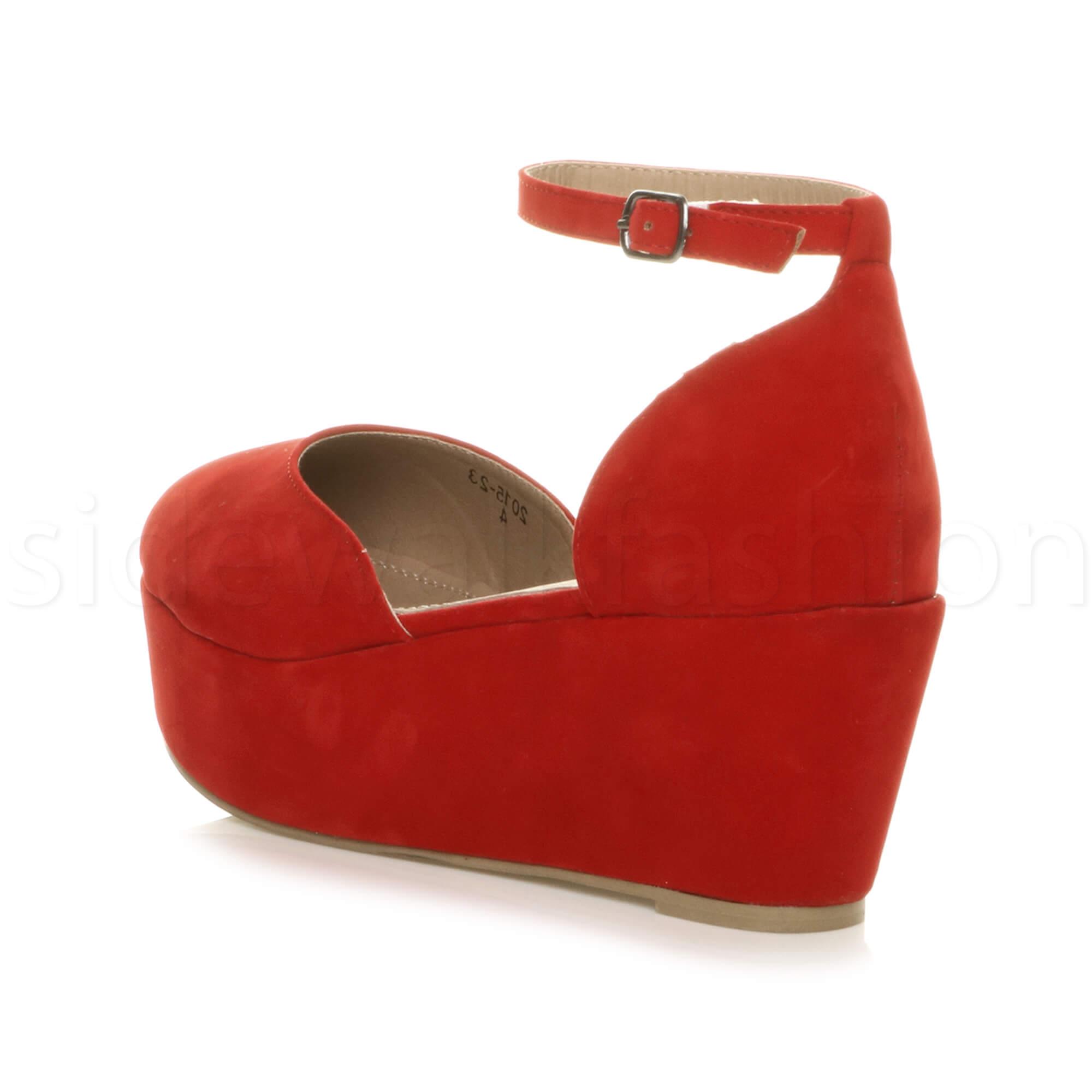 Womens-ladies-flatform-mid-wedge-ankle-strap-platform-court-shoes-sandals-size thumbnail 61