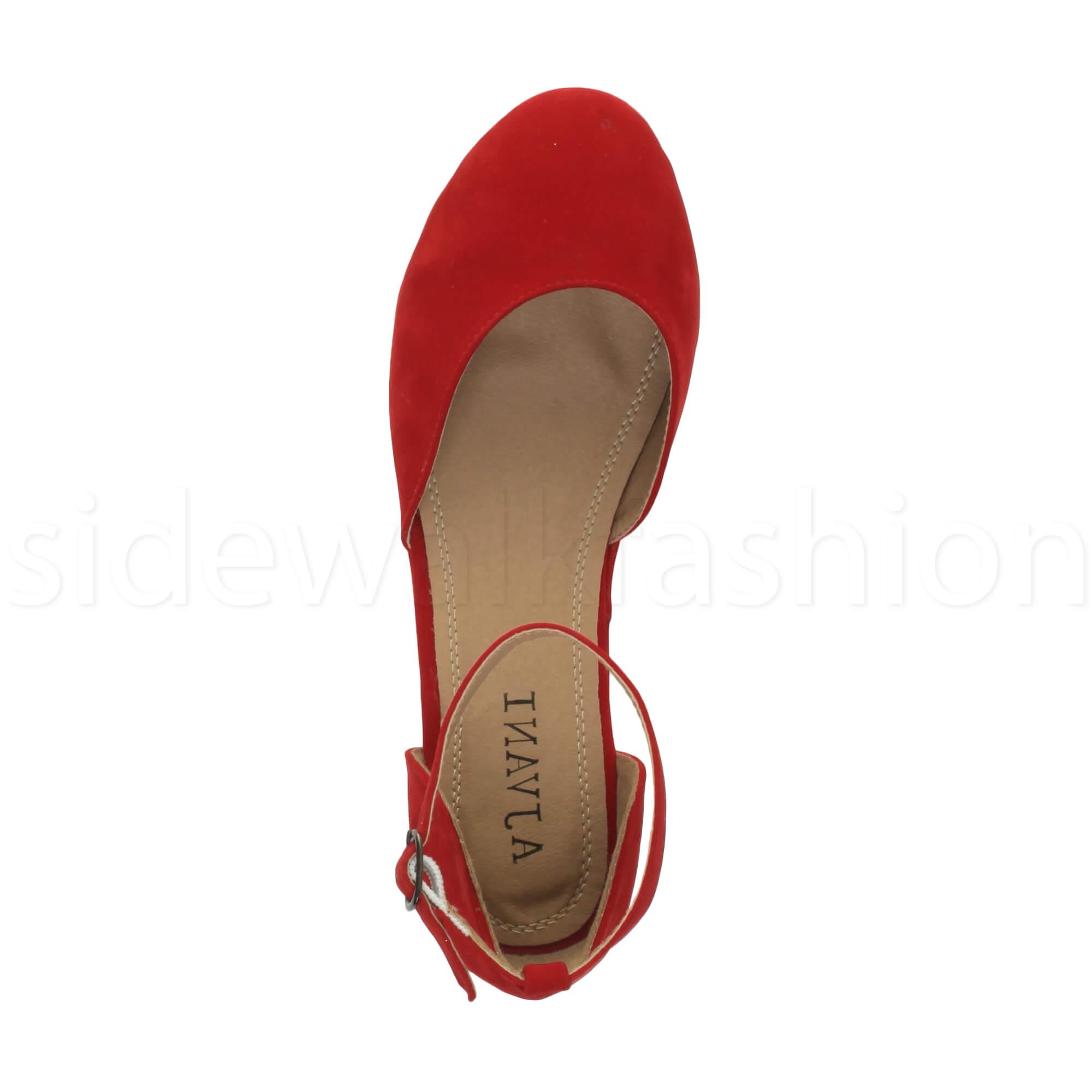Womens-ladies-flatform-mid-wedge-ankle-strap-platform-court-shoes-sandals-size thumbnail 64