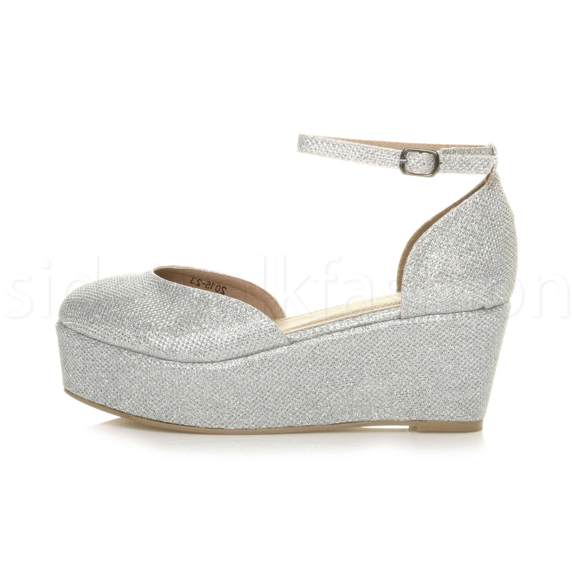 Womens-ladies-flatform-mid-wedge-ankle-strap-platform-court-shoes-sandals-size thumbnail 67