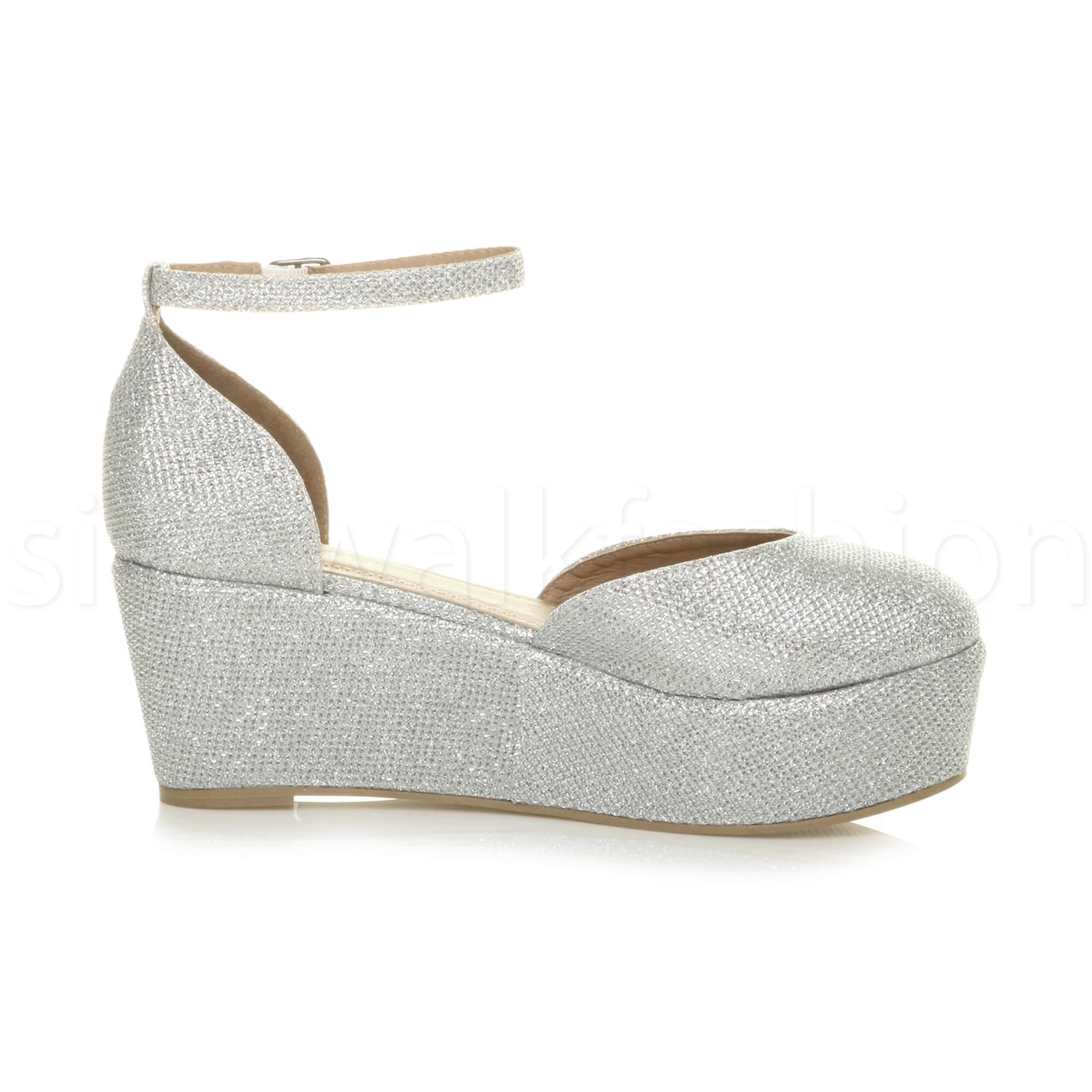 Womens-ladies-flatform-mid-wedge-ankle-strap-platform-court-shoes-sandals-size thumbnail 68