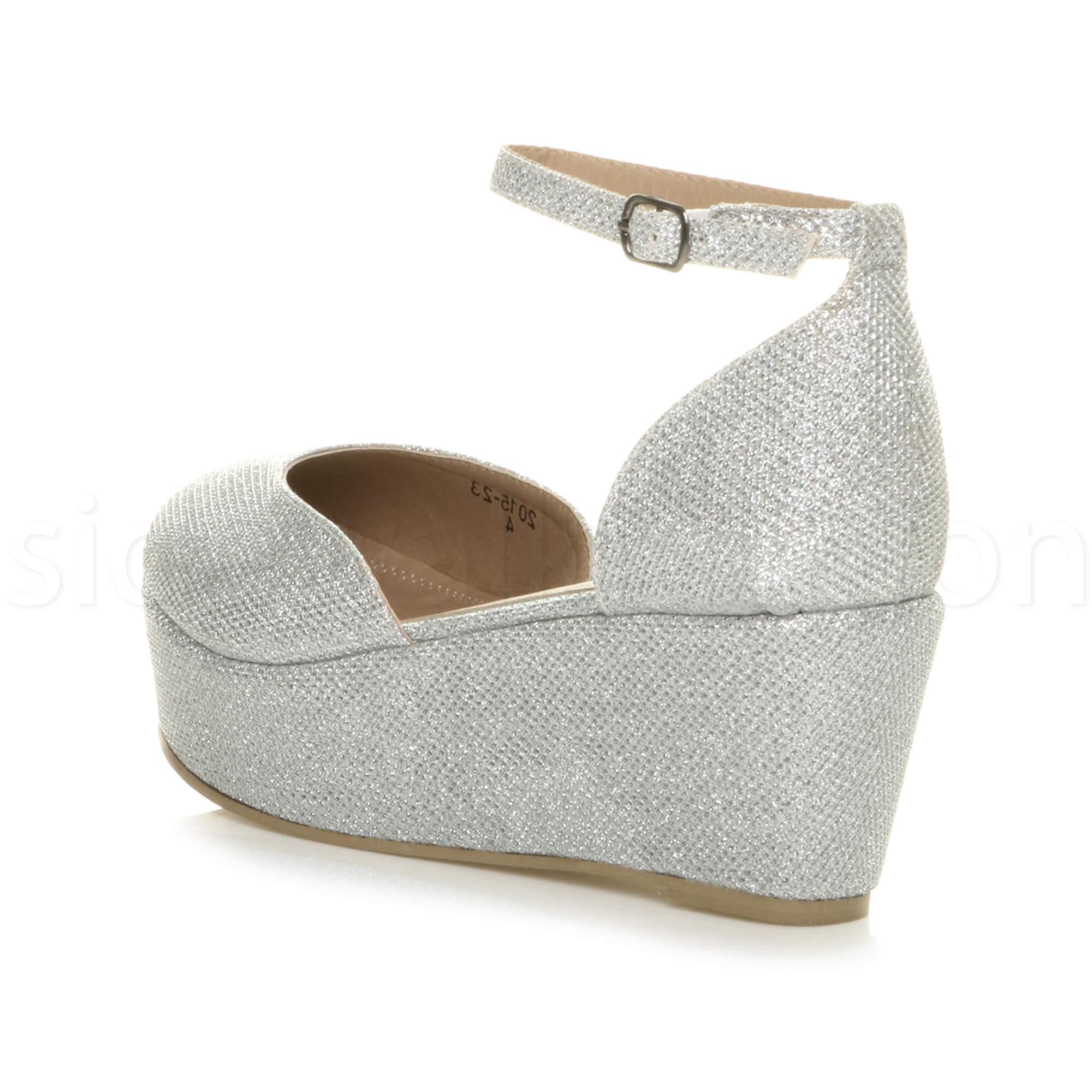 Womens-ladies-flatform-mid-wedge-ankle-strap-platform-court-shoes-sandals-size thumbnail 69