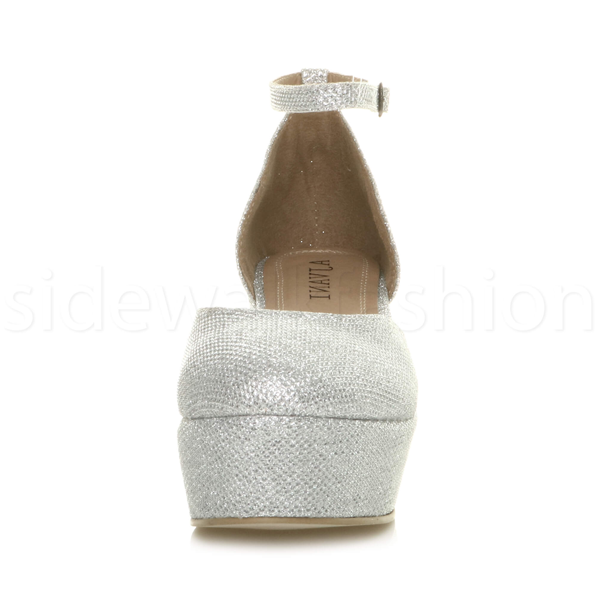Womens-ladies-flatform-mid-wedge-ankle-strap-platform-court-shoes-sandals-size thumbnail 71