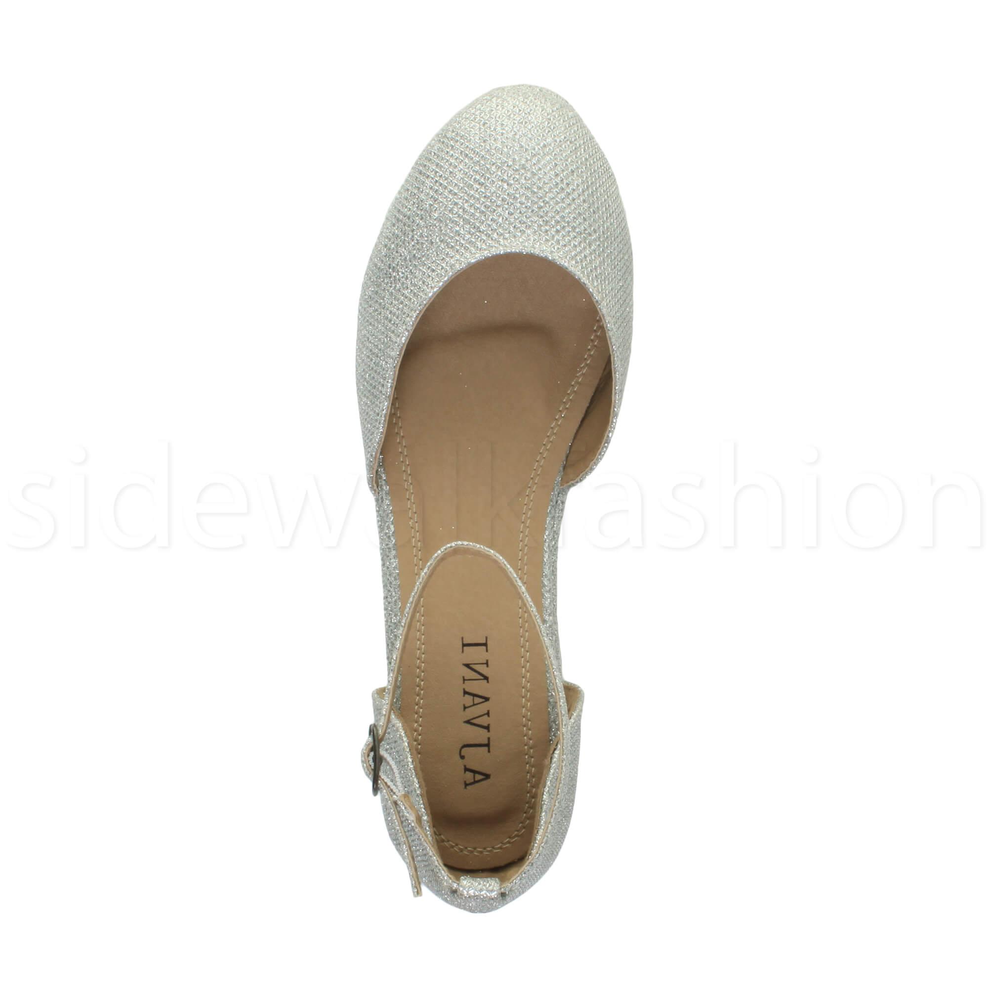 Womens-ladies-flatform-mid-wedge-ankle-strap-platform-court-shoes-sandals-size thumbnail 72