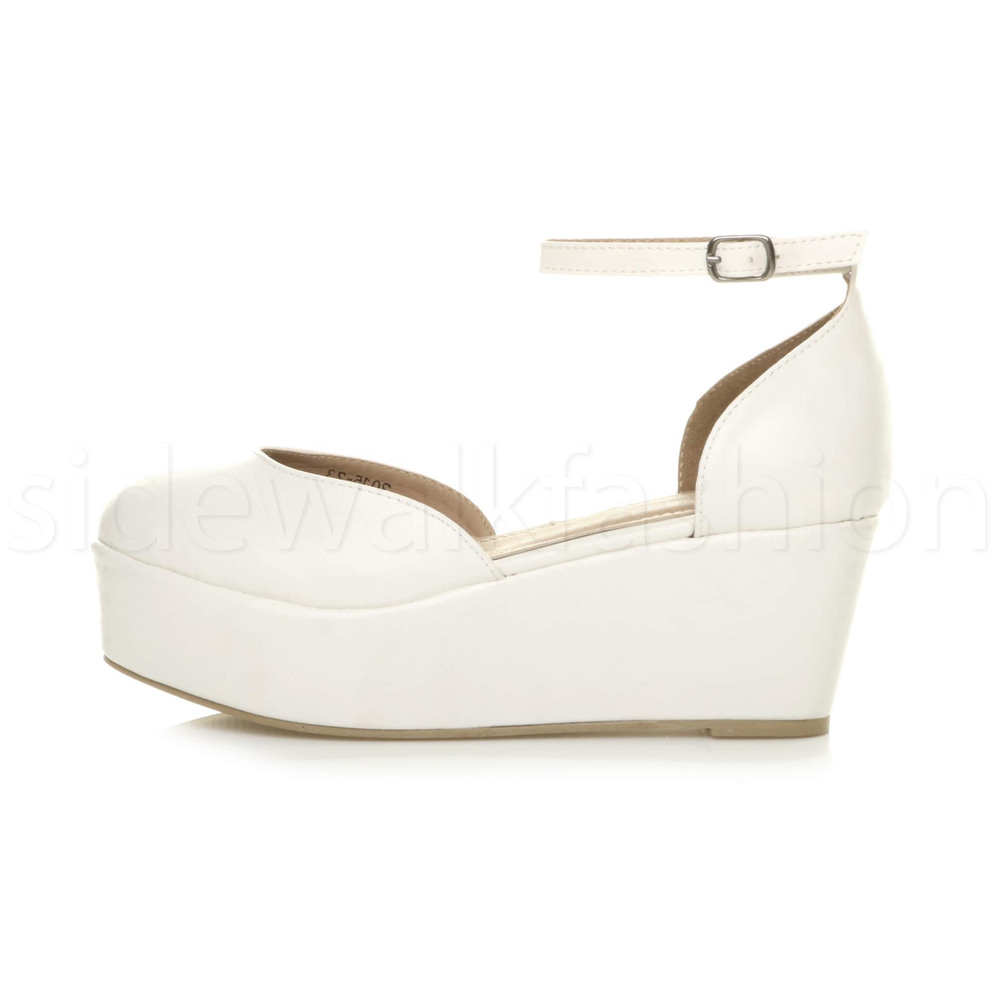 Womens-ladies-flatform-mid-wedge-ankle-strap-platform-court-shoes-sandals-size thumbnail 75