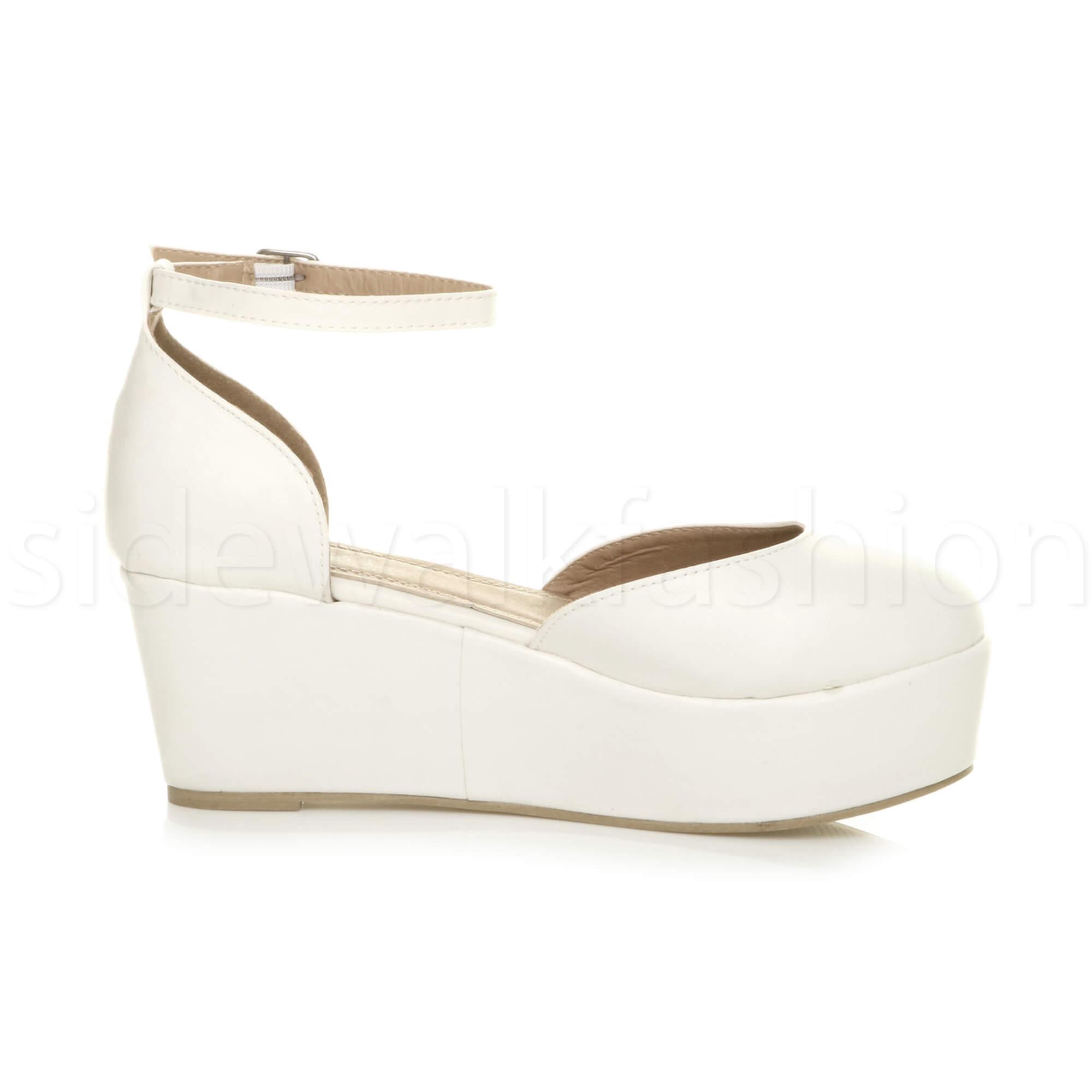 Womens-ladies-flatform-mid-wedge-ankle-strap-platform-court-shoes-sandals-size thumbnail 76