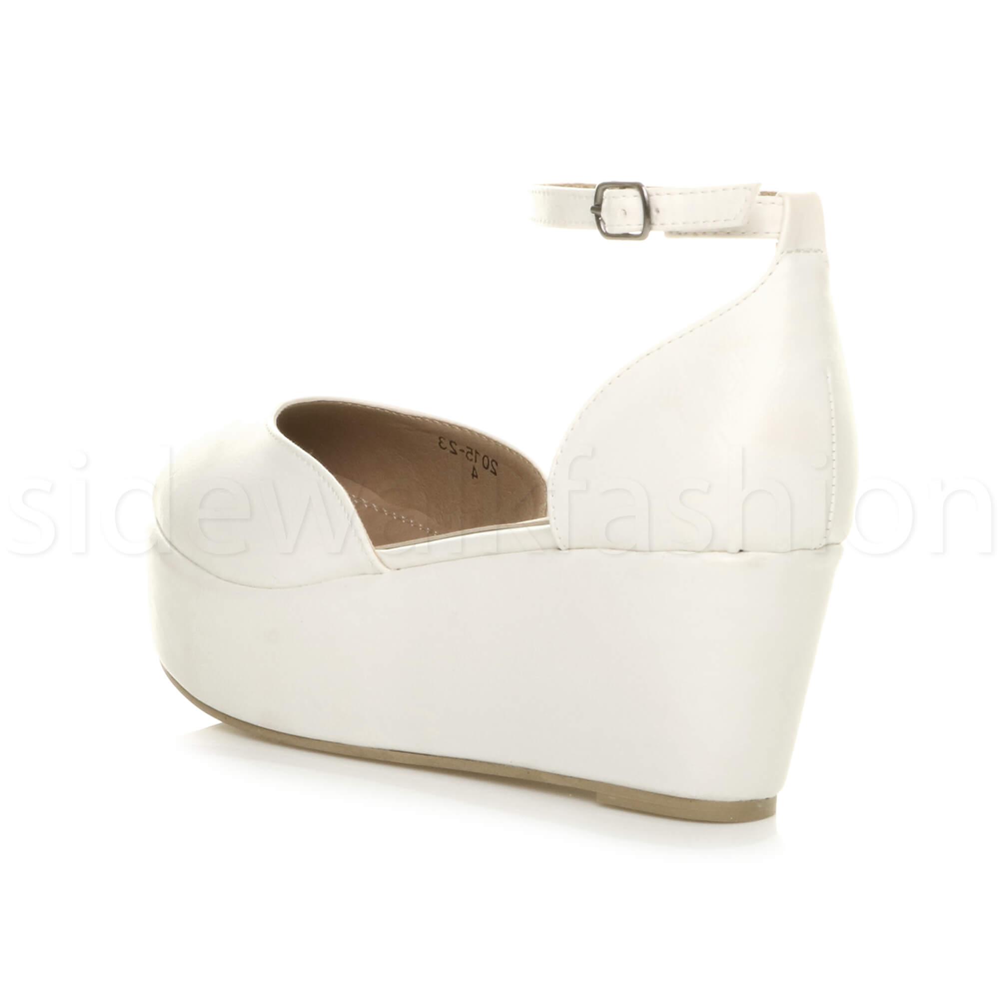 Womens-ladies-flatform-mid-wedge-ankle-strap-platform-court-shoes-sandals-size thumbnail 77