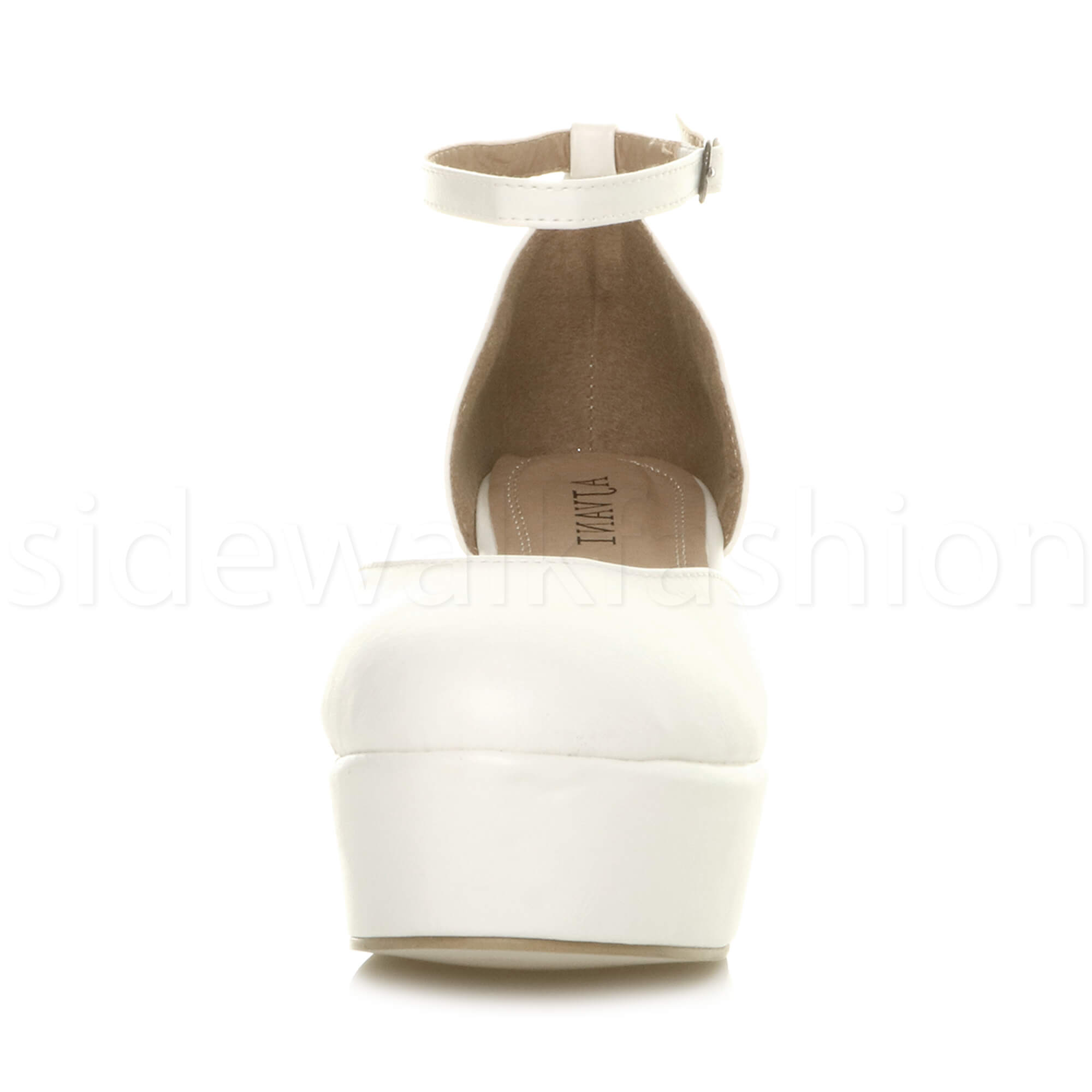 Womens-ladies-flatform-mid-wedge-ankle-strap-platform-court-shoes-sandals-size thumbnail 79