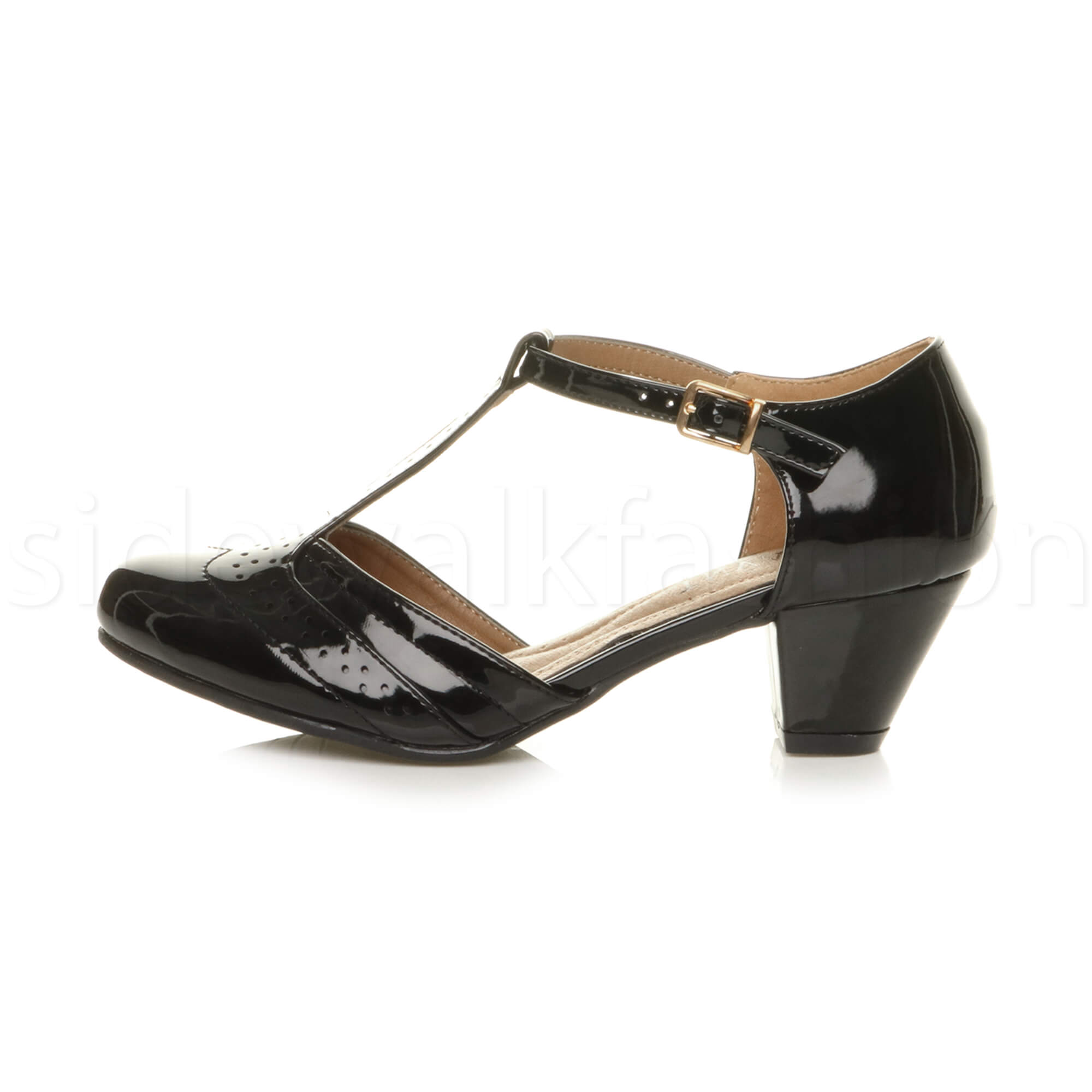 Womens-ladies-block-low-mid-heel-smart-work-Mary-Jane-T-bar-brogue-court-shoes thumbnail 10