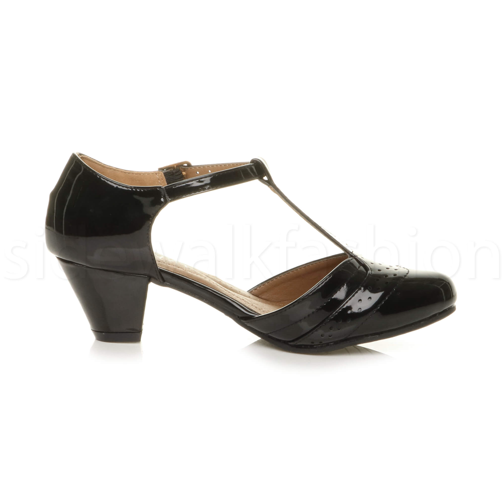 Womens-ladies-block-low-mid-heel-smart-work-Mary-Jane-T-bar-brogue-court-shoes thumbnail 11