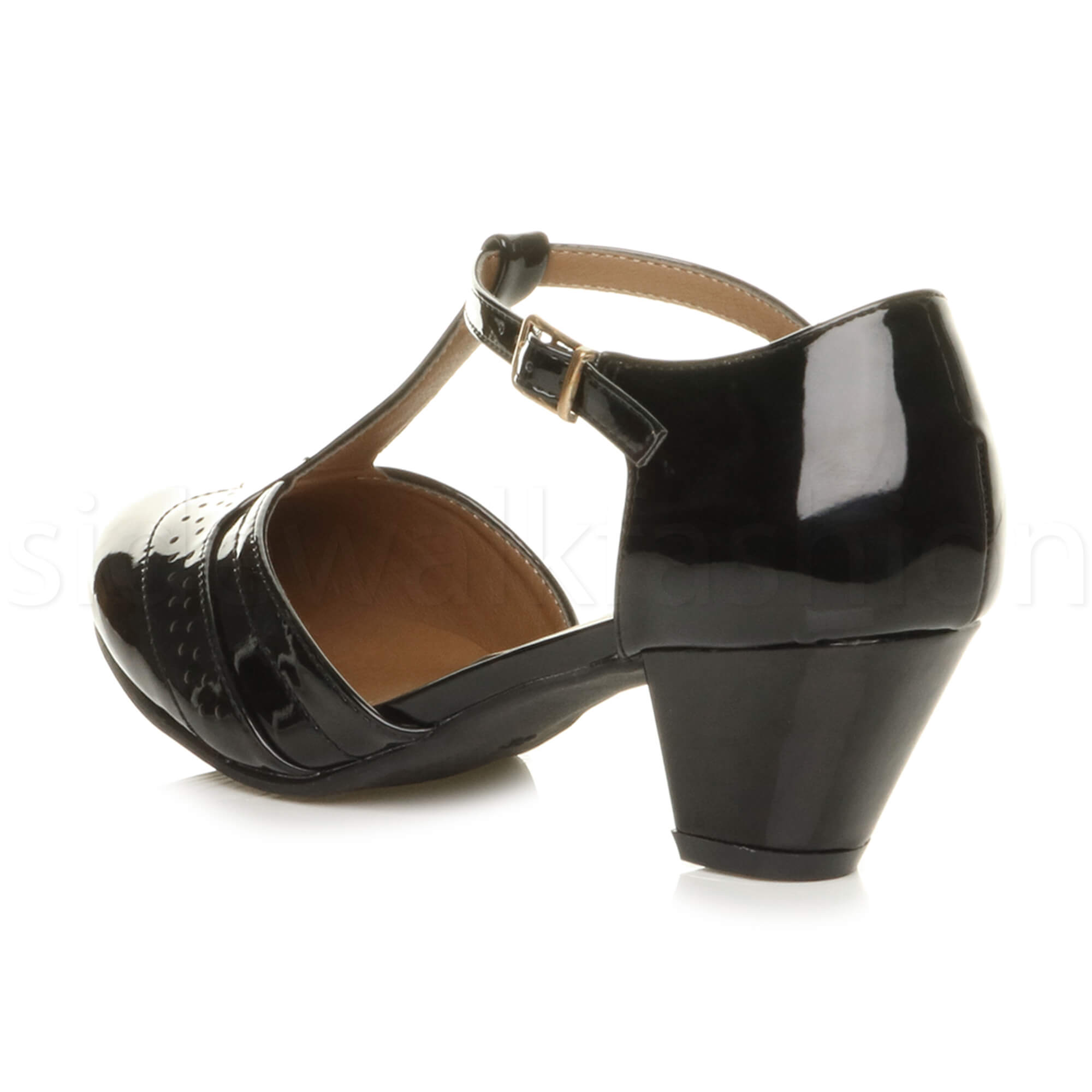 Womens-ladies-block-low-mid-heel-smart-work-Mary-Jane-T-bar-brogue-court-shoes thumbnail 12