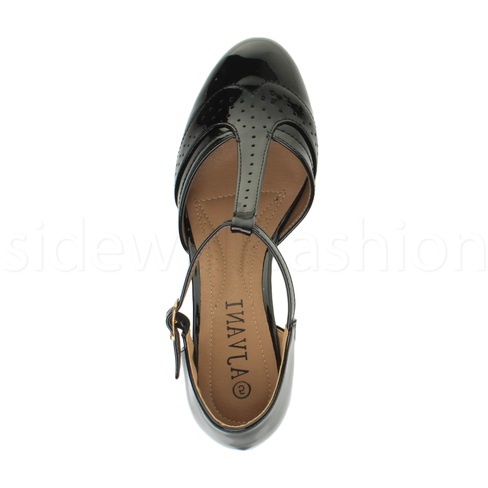 Womens-ladies-block-low-mid-heel-smart-work-Mary-Jane-T-bar-brogue-court-shoes thumbnail 13