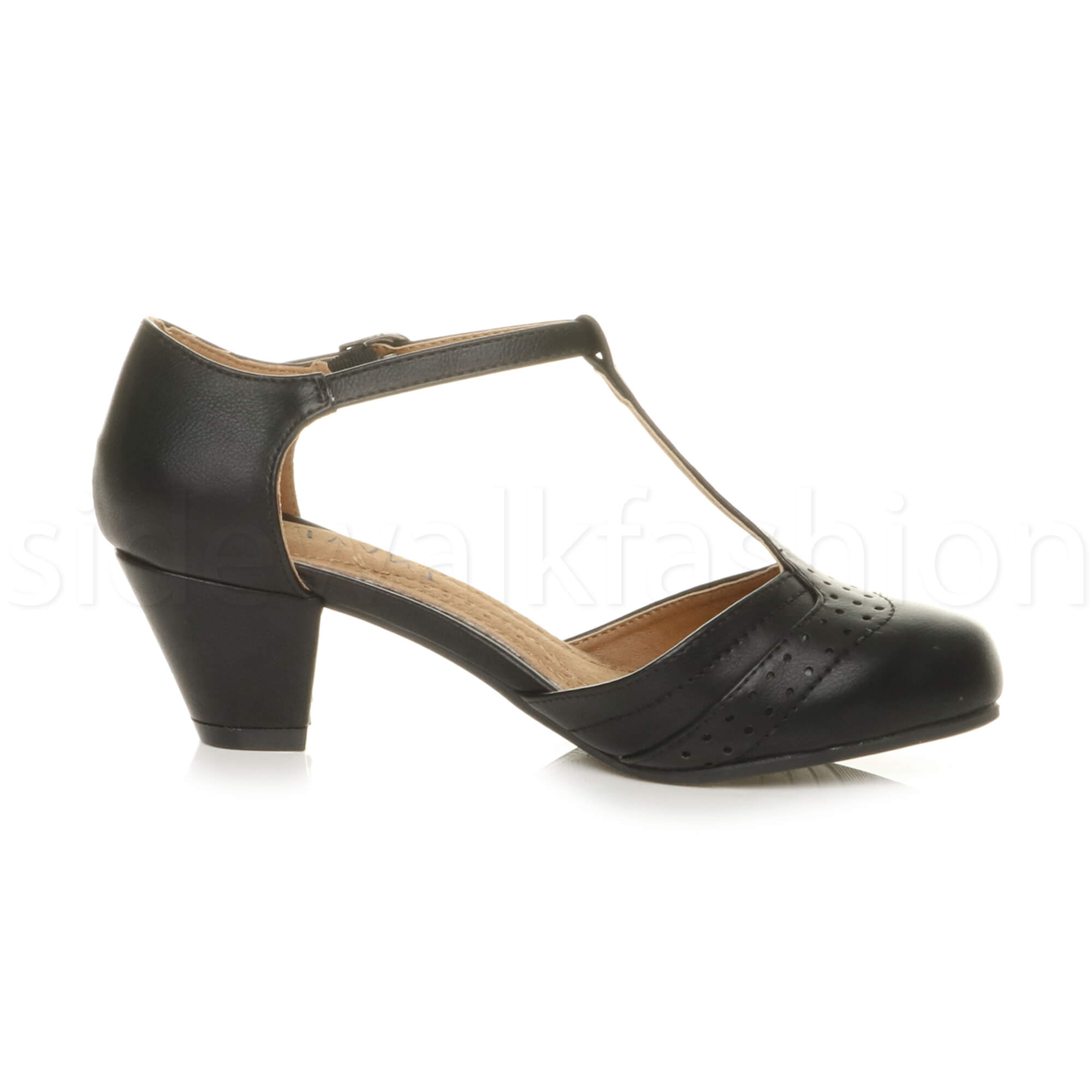 Womens-ladies-block-low-mid-heel-smart-work-Mary-Jane-T-bar-brogue-court-shoes thumbnail 4
