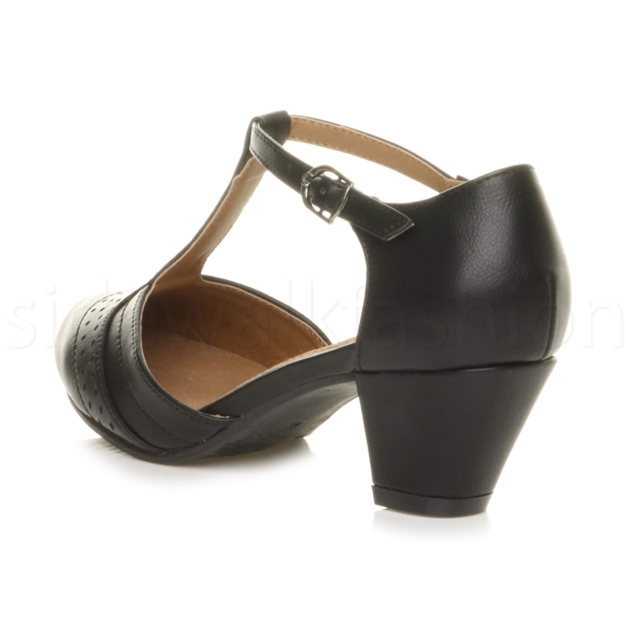 Womens-ladies-block-low-mid-heel-smart-work-Mary-Jane-T-bar-brogue-court-shoes thumbnail 5