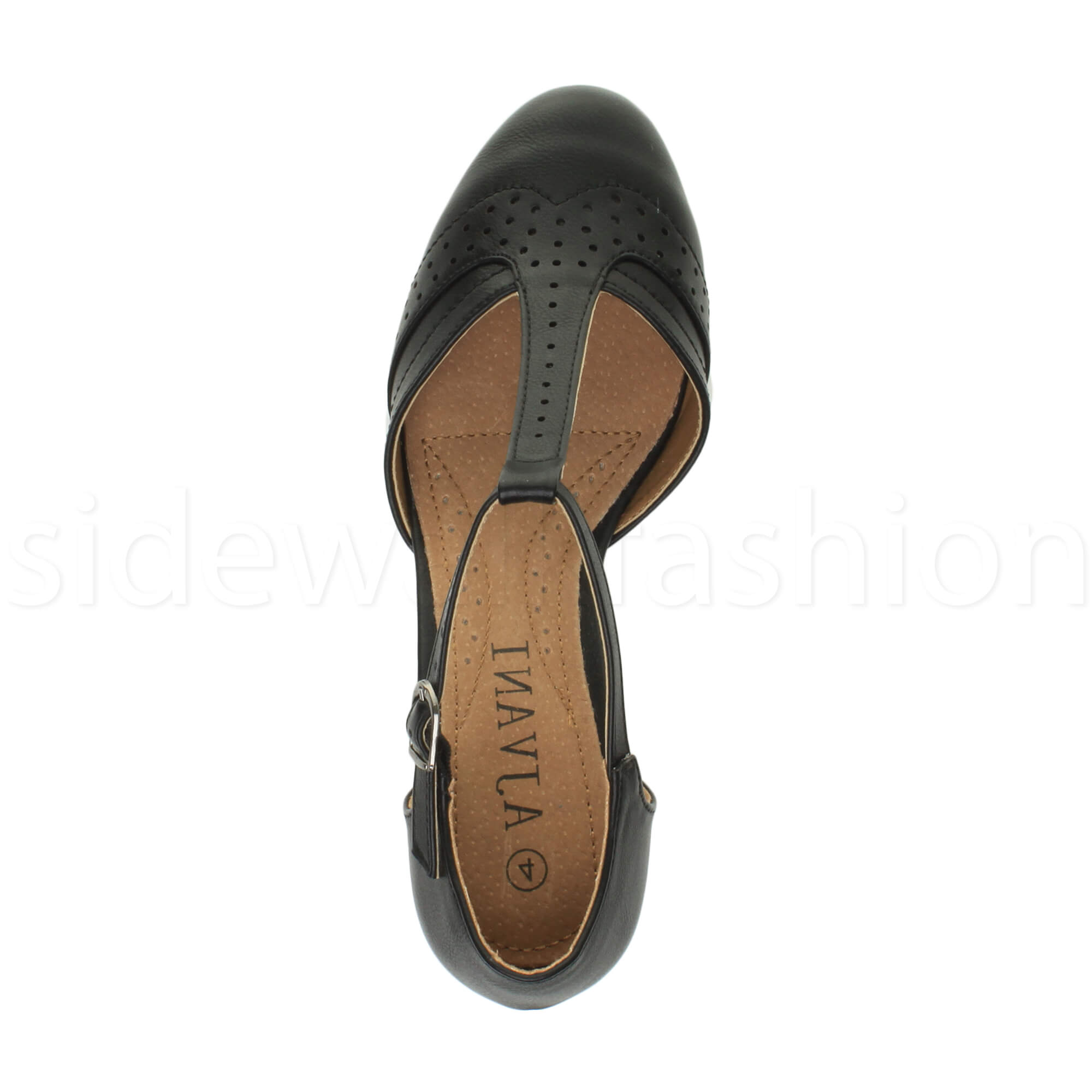 Womens-ladies-block-low-mid-heel-smart-work-Mary-Jane-T-bar-brogue-court-shoes thumbnail 6