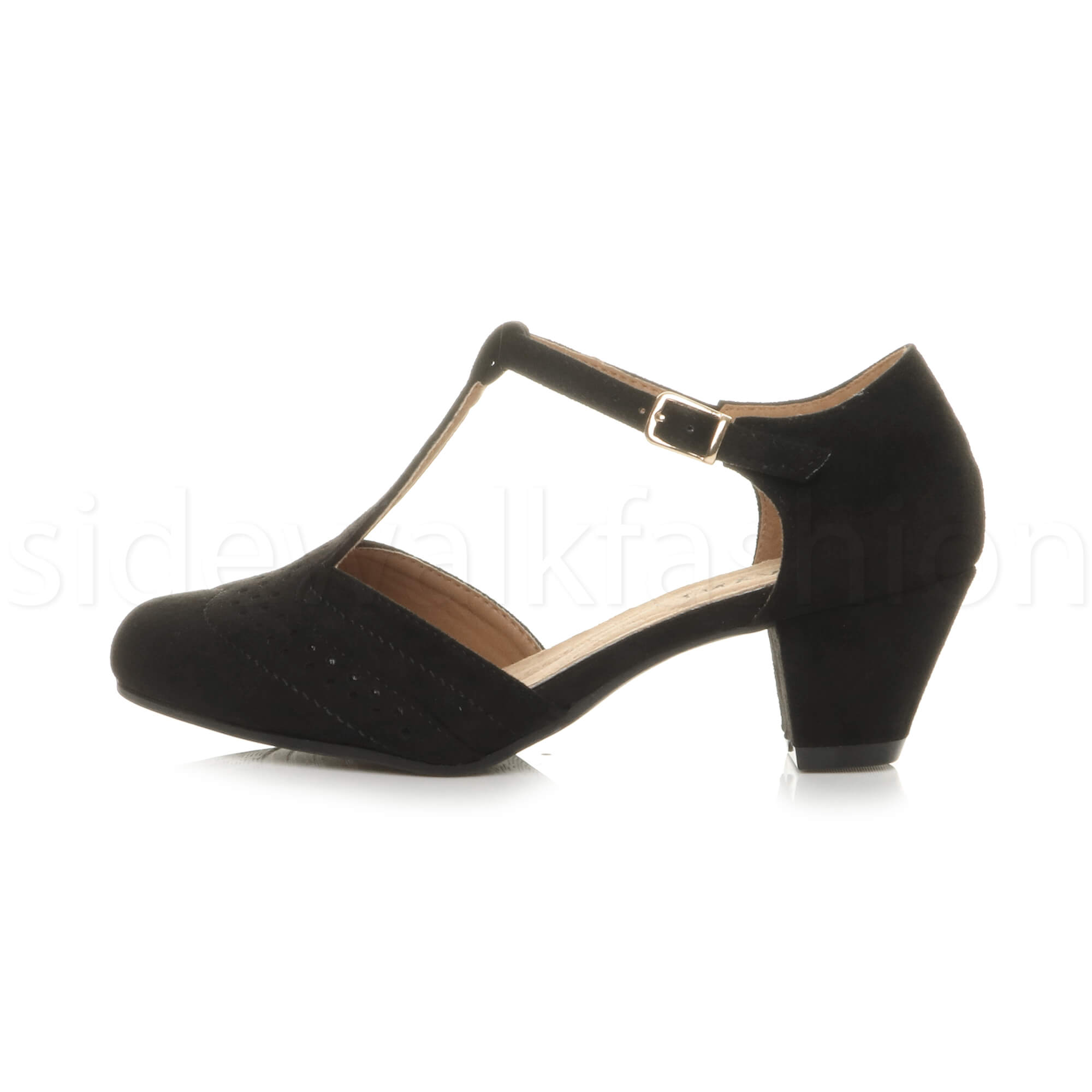 Womens-ladies-block-low-mid-heel-smart-work-Mary-Jane-T-bar-brogue-court-shoes thumbnail 17
