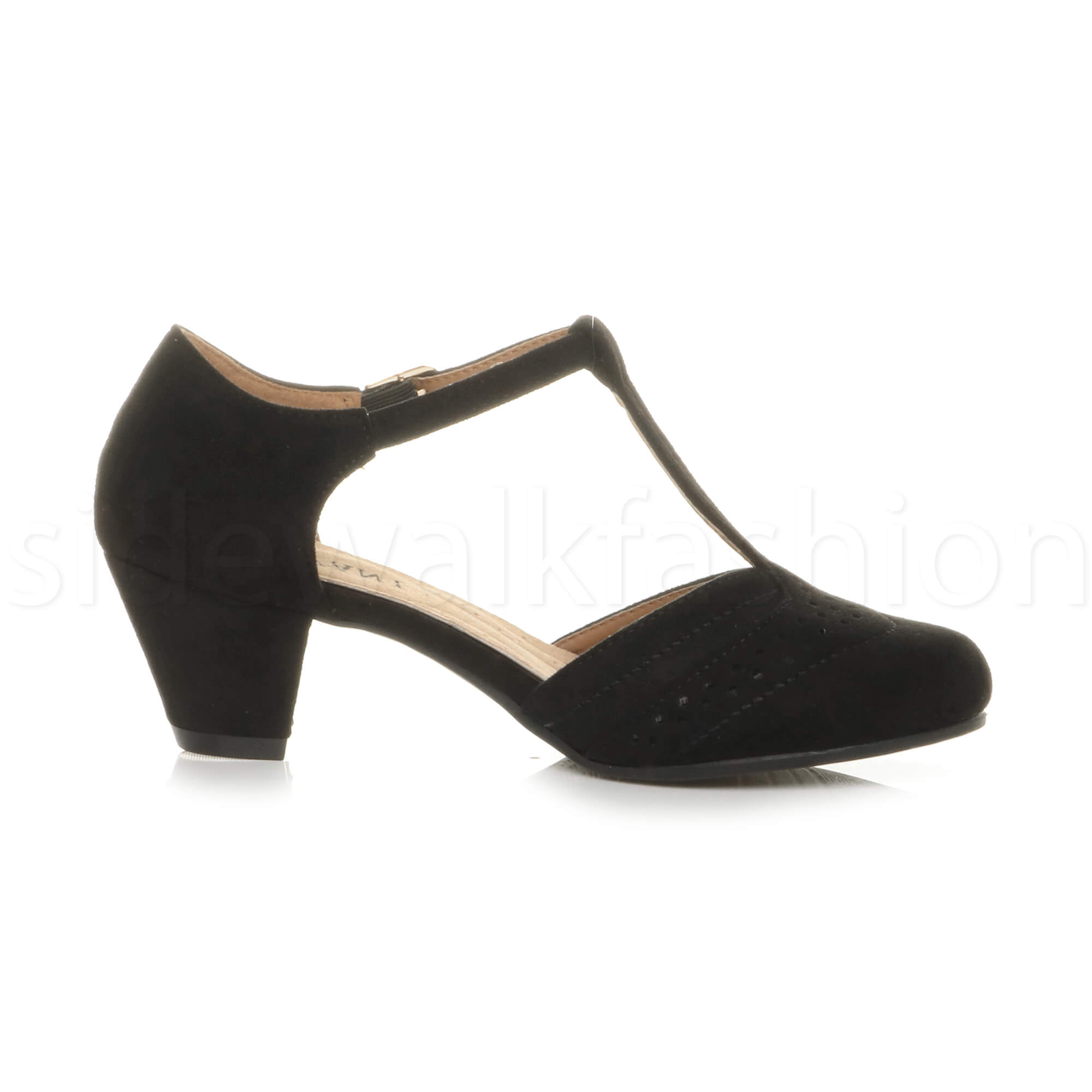 Womens-ladies-block-low-mid-heel-smart-work-Mary-Jane-T-bar-brogue-court-shoes thumbnail 18