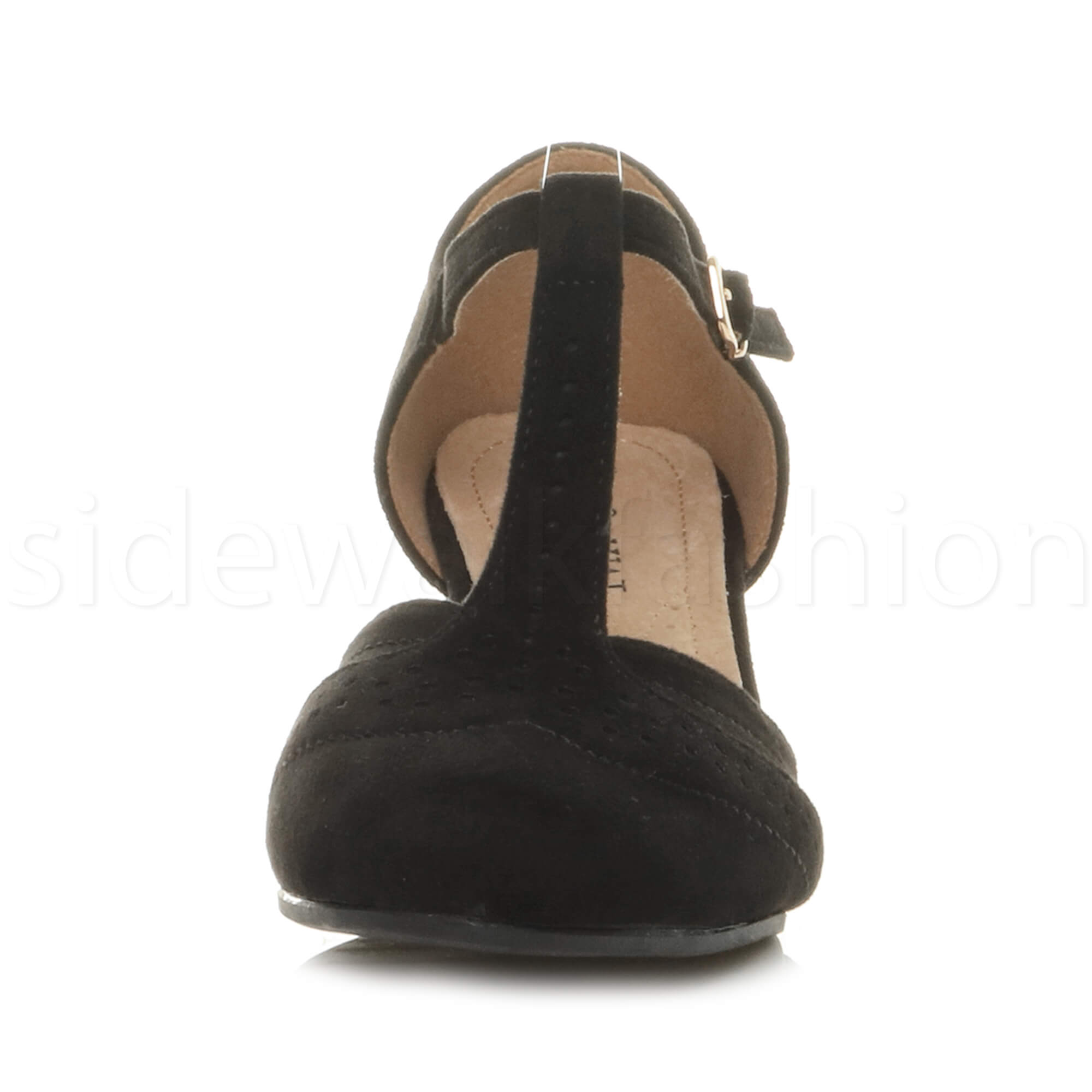 Womens-ladies-block-low-mid-heel-smart-work-Mary-Jane-T-bar-brogue-court-shoes thumbnail 21