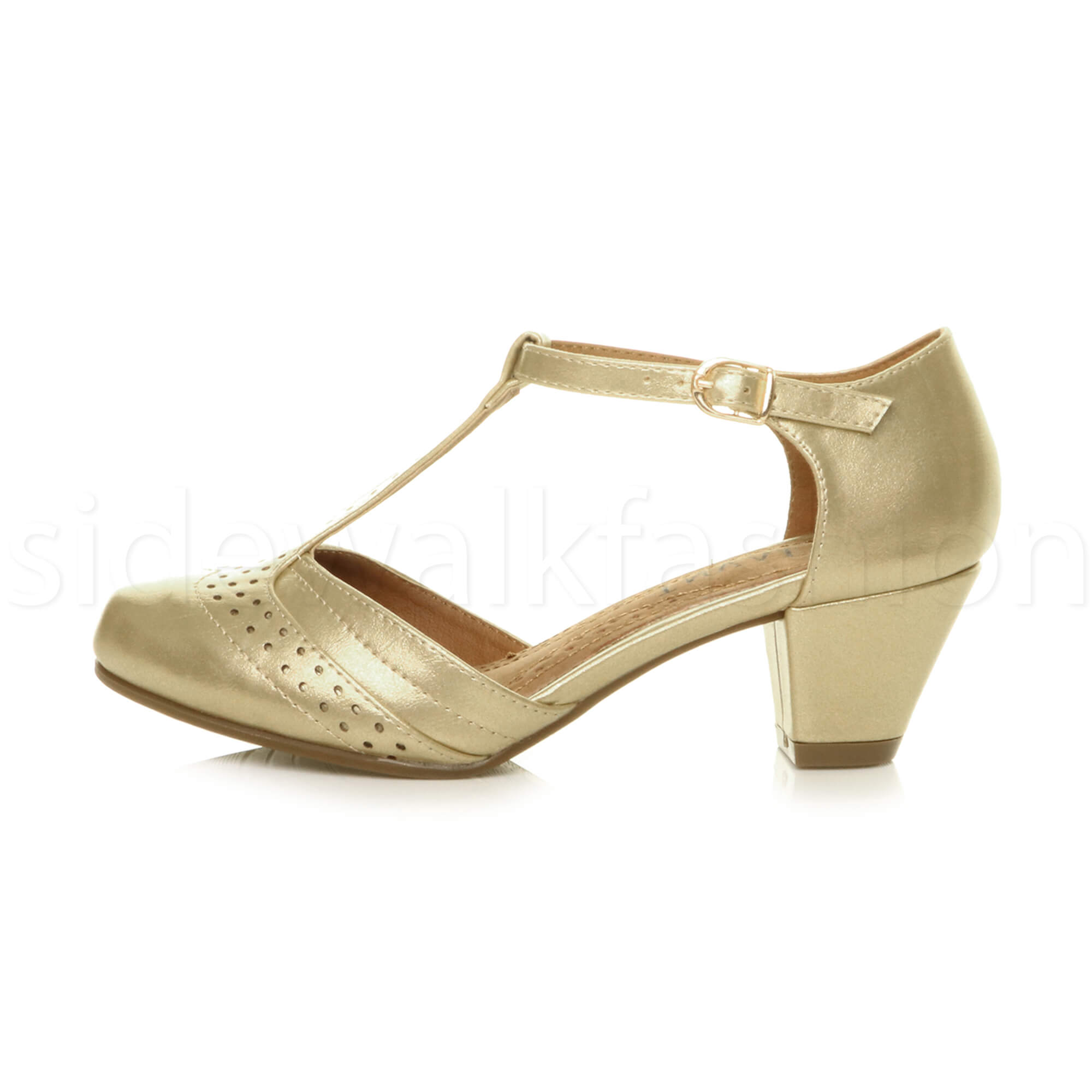 Womens-ladies-block-low-mid-heel-smart-work-Mary-Jane-T-bar-brogue-court-shoes thumbnail 31