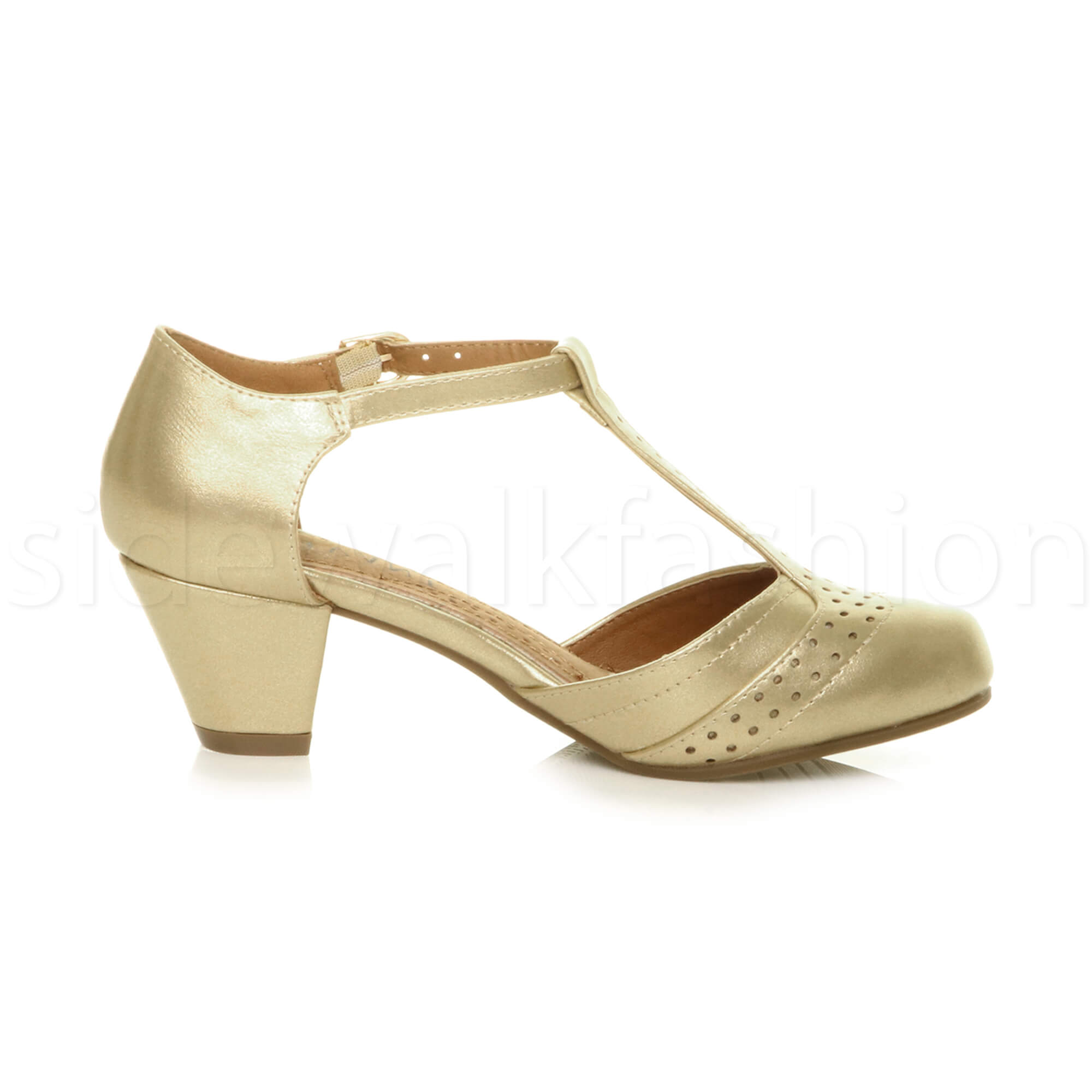 Womens-ladies-block-low-mid-heel-smart-work-Mary-Jane-T-bar-brogue-court-shoes thumbnail 32
