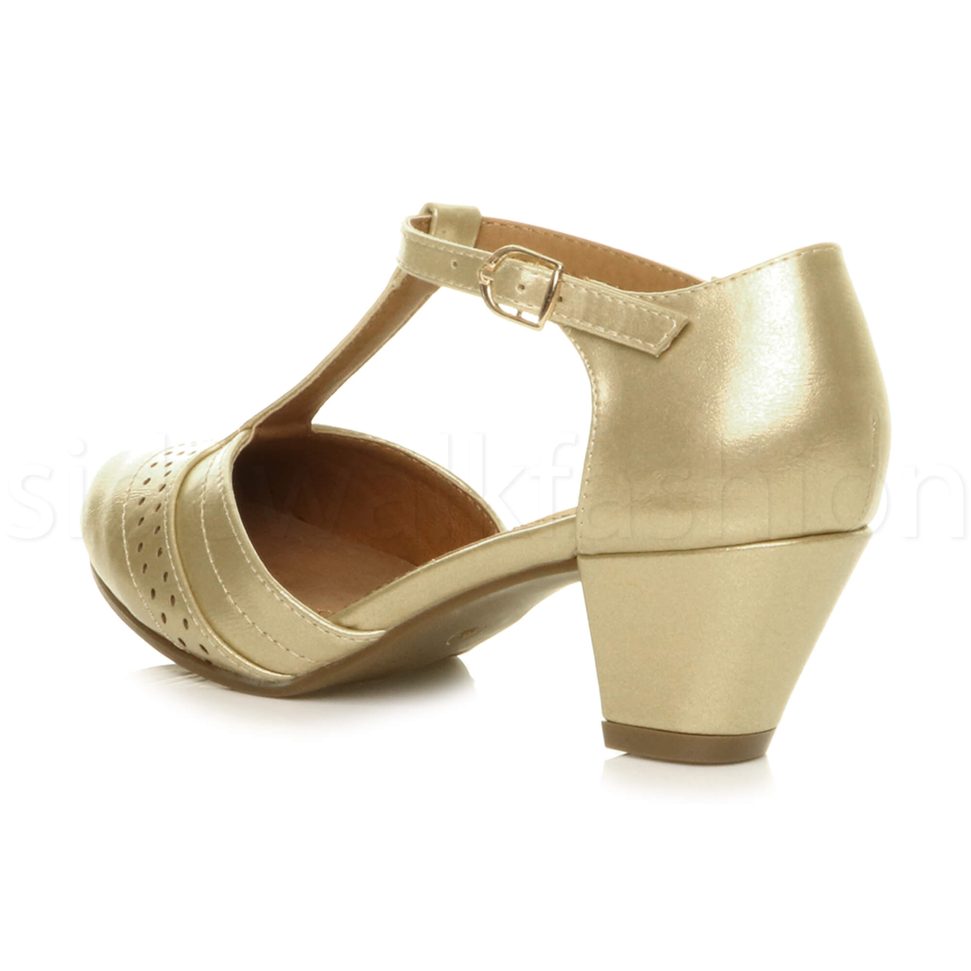 Womens-ladies-block-low-mid-heel-smart-work-Mary-Jane-T-bar-brogue-court-shoes thumbnail 33