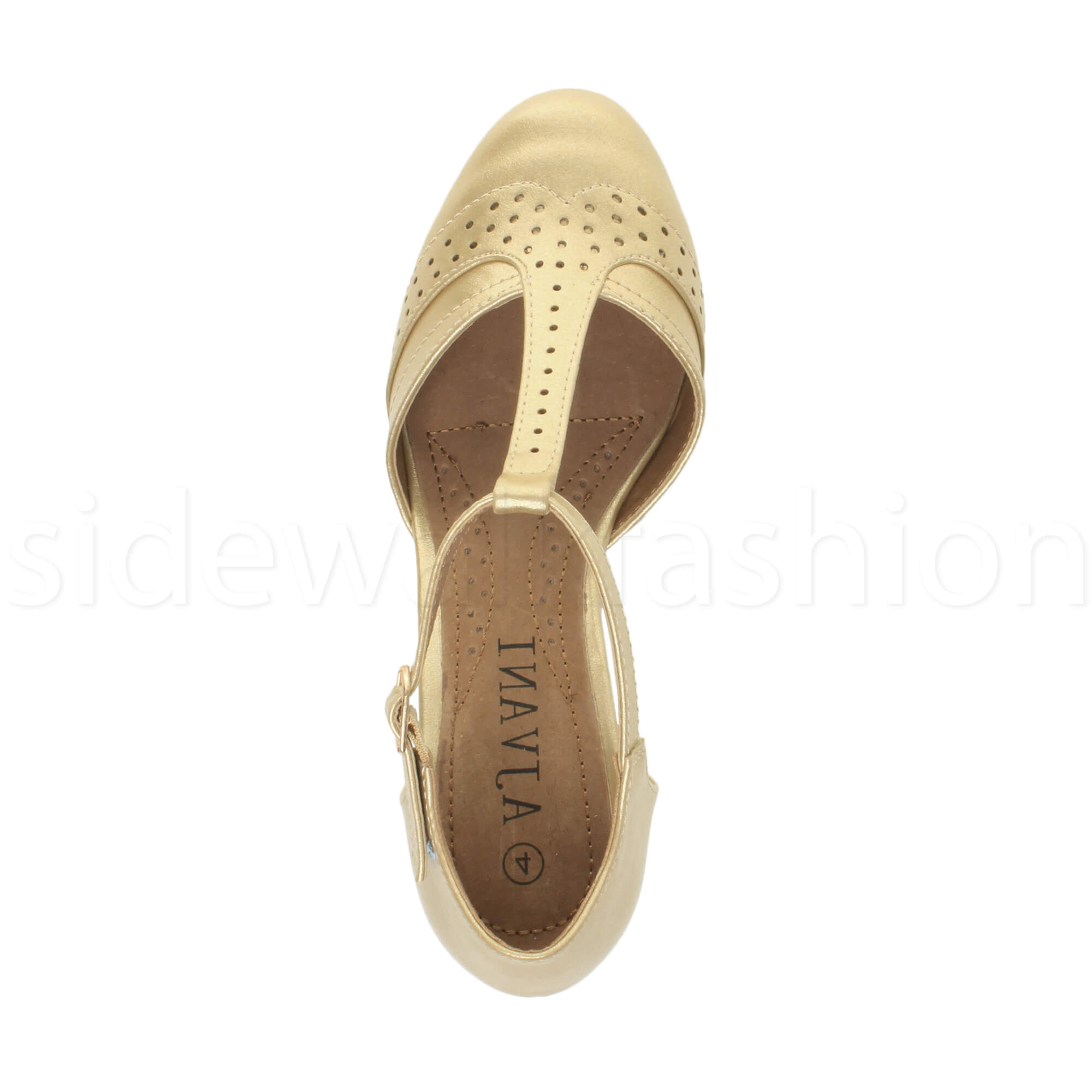Womens-ladies-block-low-mid-heel-smart-work-Mary-Jane-T-bar-brogue-court-shoes thumbnail 34