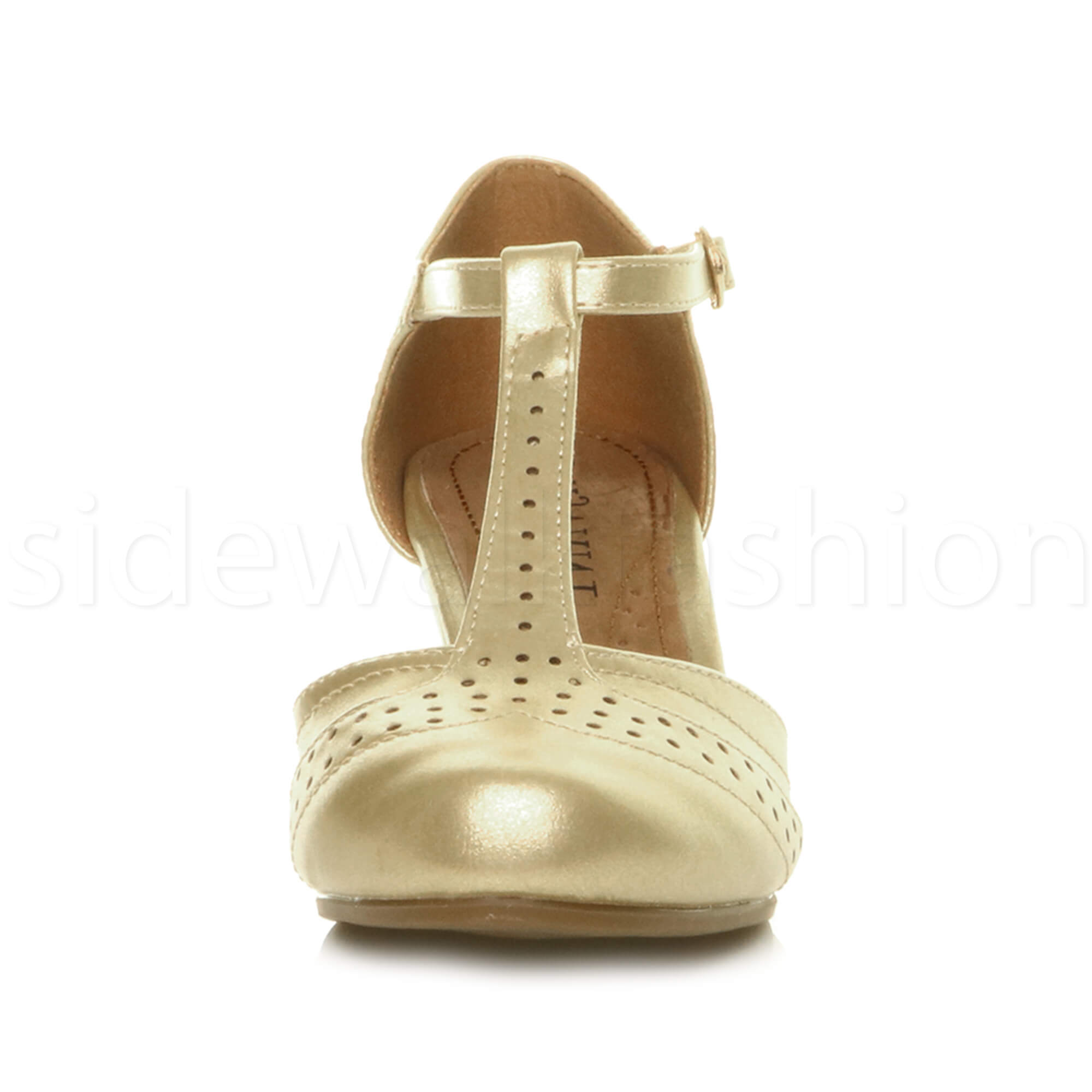 Womens-ladies-block-low-mid-heel-smart-work-Mary-Jane-T-bar-brogue-court-shoes thumbnail 35