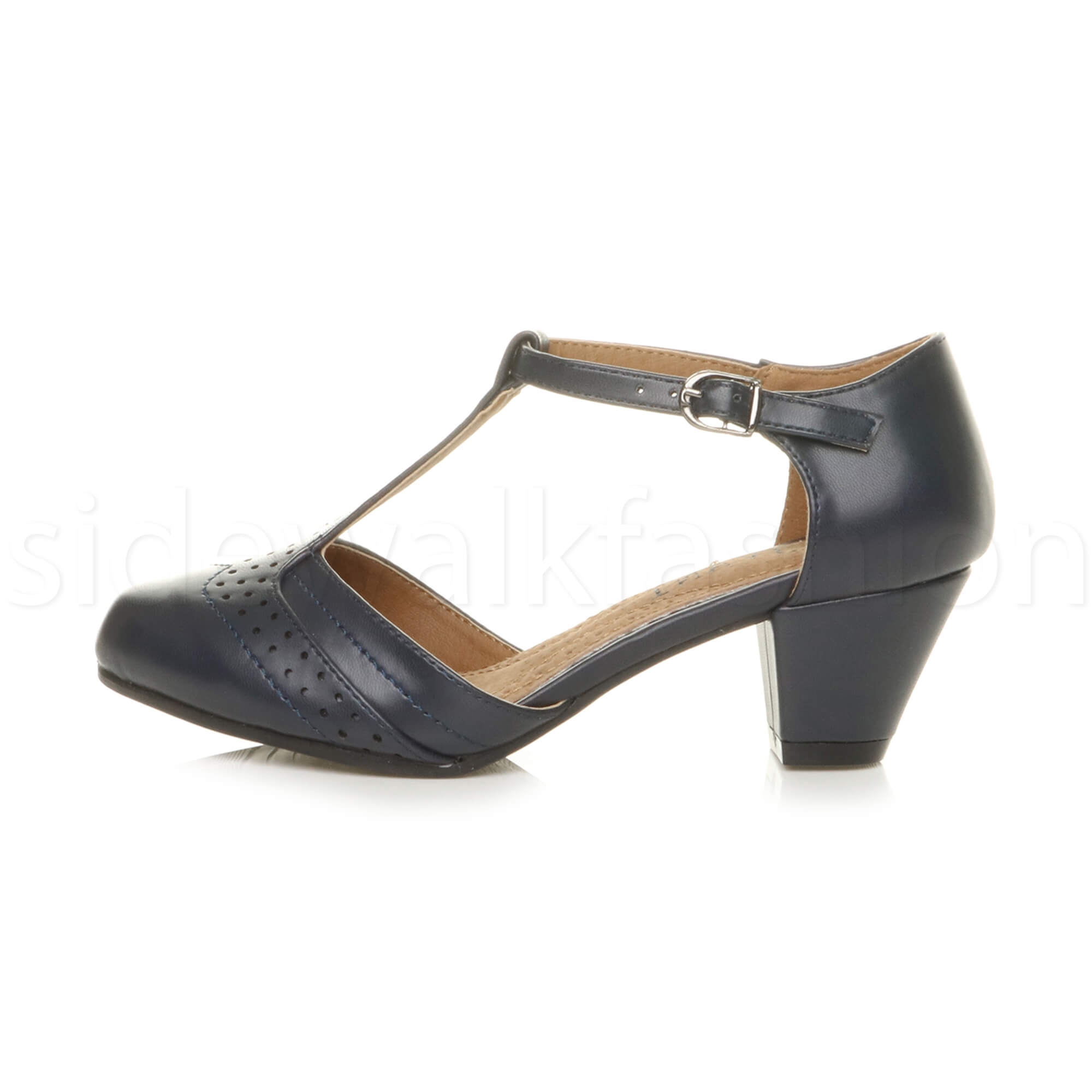 Womens-ladies-block-low-mid-heel-smart-work-Mary-Jane-T-bar-brogue-court-shoes thumbnail 38