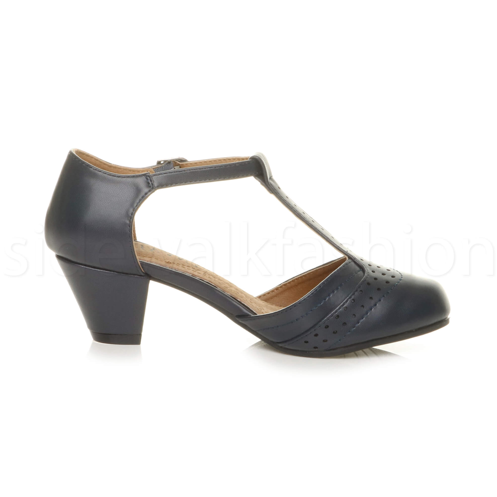 Womens-ladies-block-low-mid-heel-smart-work-Mary-Jane-T-bar-brogue-court-shoes thumbnail 39