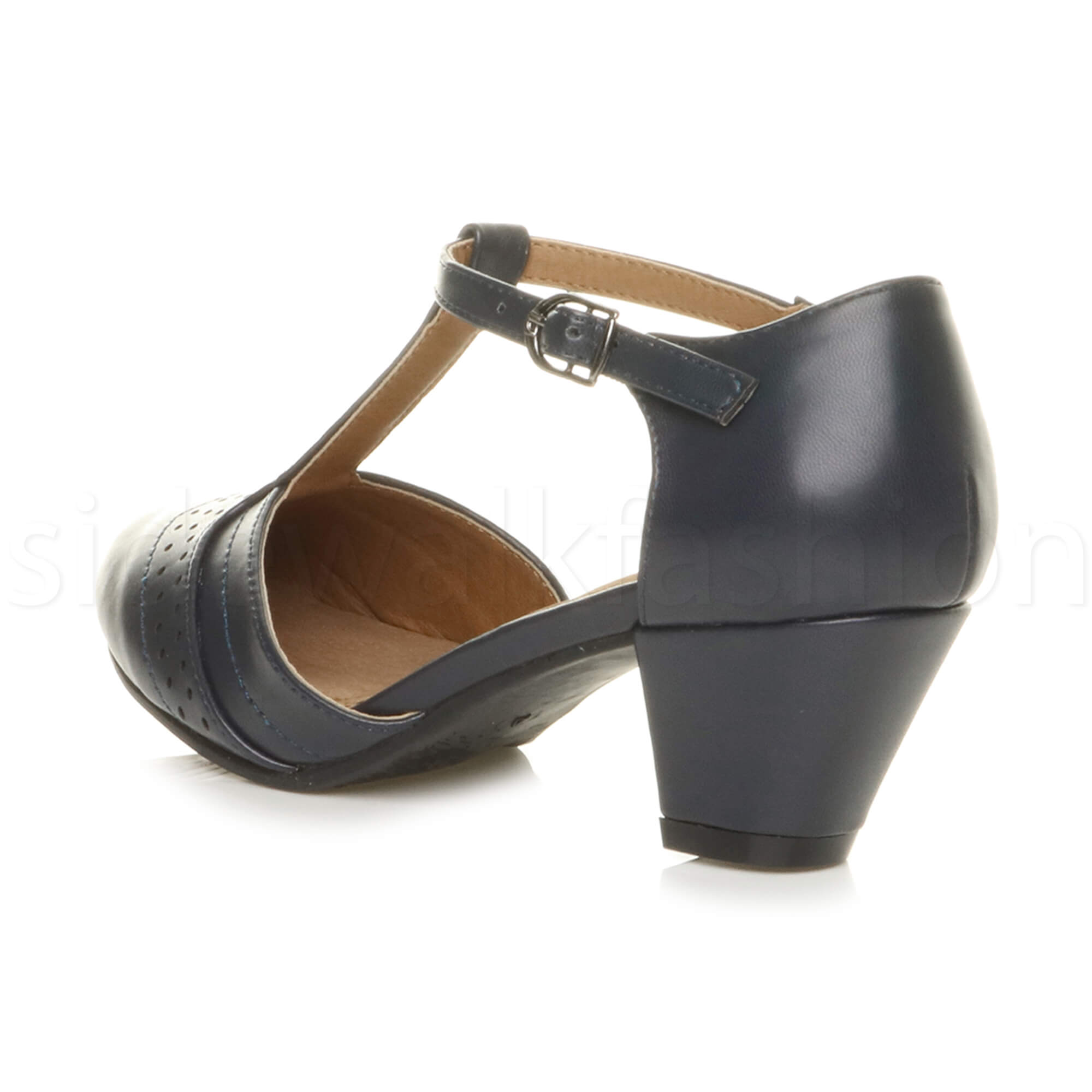 Womens-ladies-block-low-mid-heel-smart-work-Mary-Jane-T-bar-brogue-court-shoes thumbnail 40
