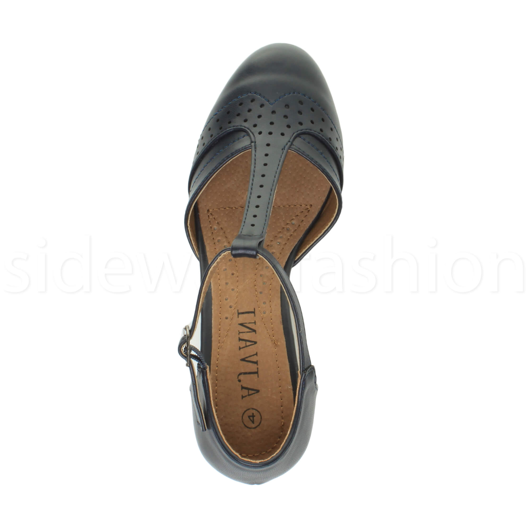 Womens-ladies-block-low-mid-heel-smart-work-Mary-Jane-T-bar-brogue-court-shoes thumbnail 41
