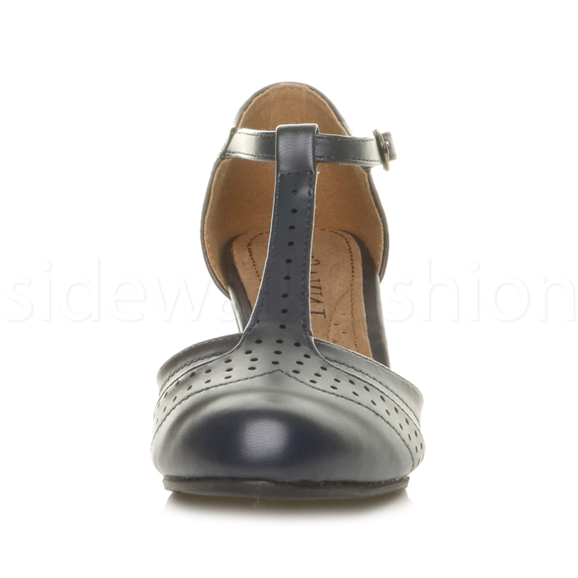 Womens-ladies-block-low-mid-heel-smart-work-Mary-Jane-T-bar-brogue-court-shoes thumbnail 42