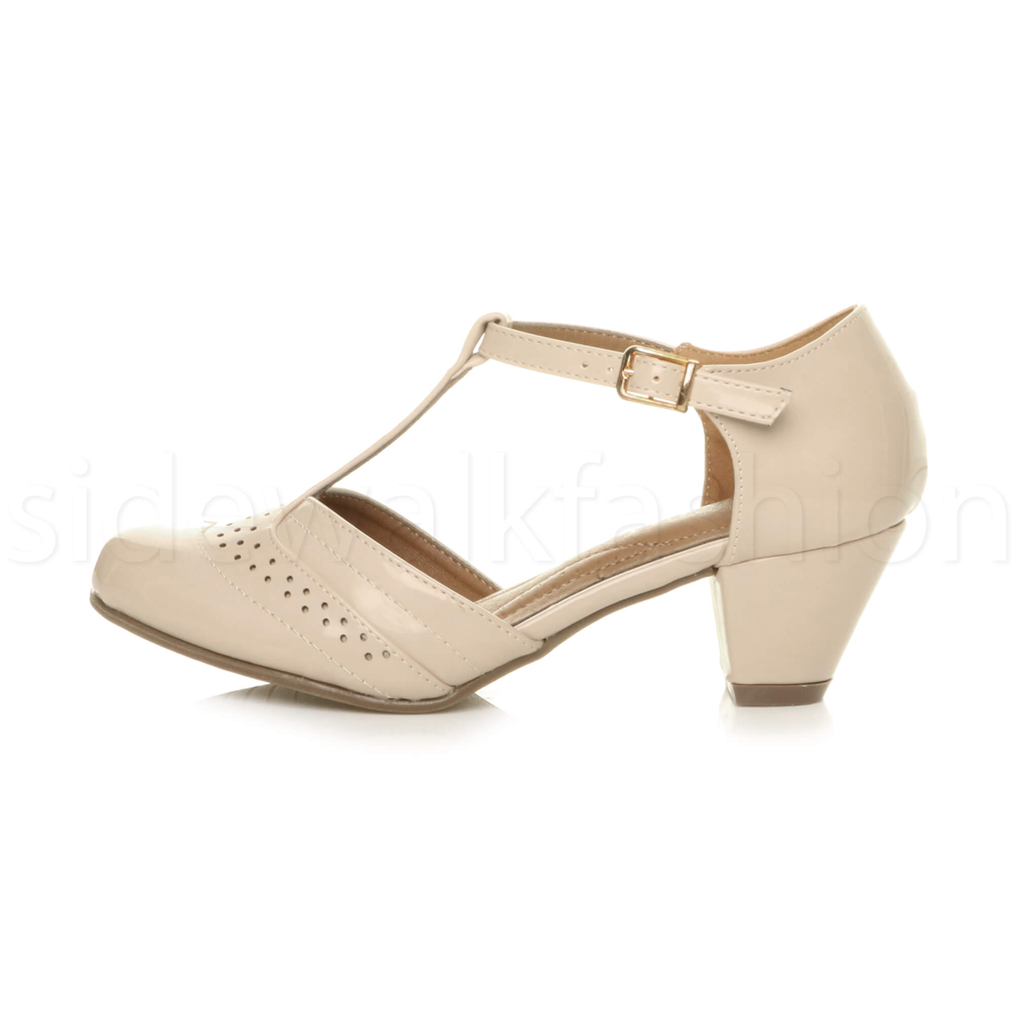 Womens-ladies-block-low-mid-heel-smart-work-Mary-Jane-T-bar-brogue-court-shoes thumbnail 52