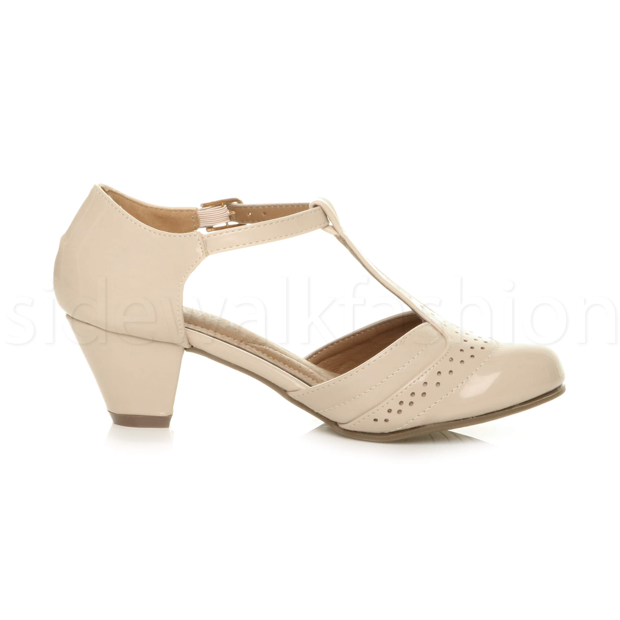 Womens-ladies-block-low-mid-heel-smart-work-Mary-Jane-T-bar-brogue-court-shoes thumbnail 53