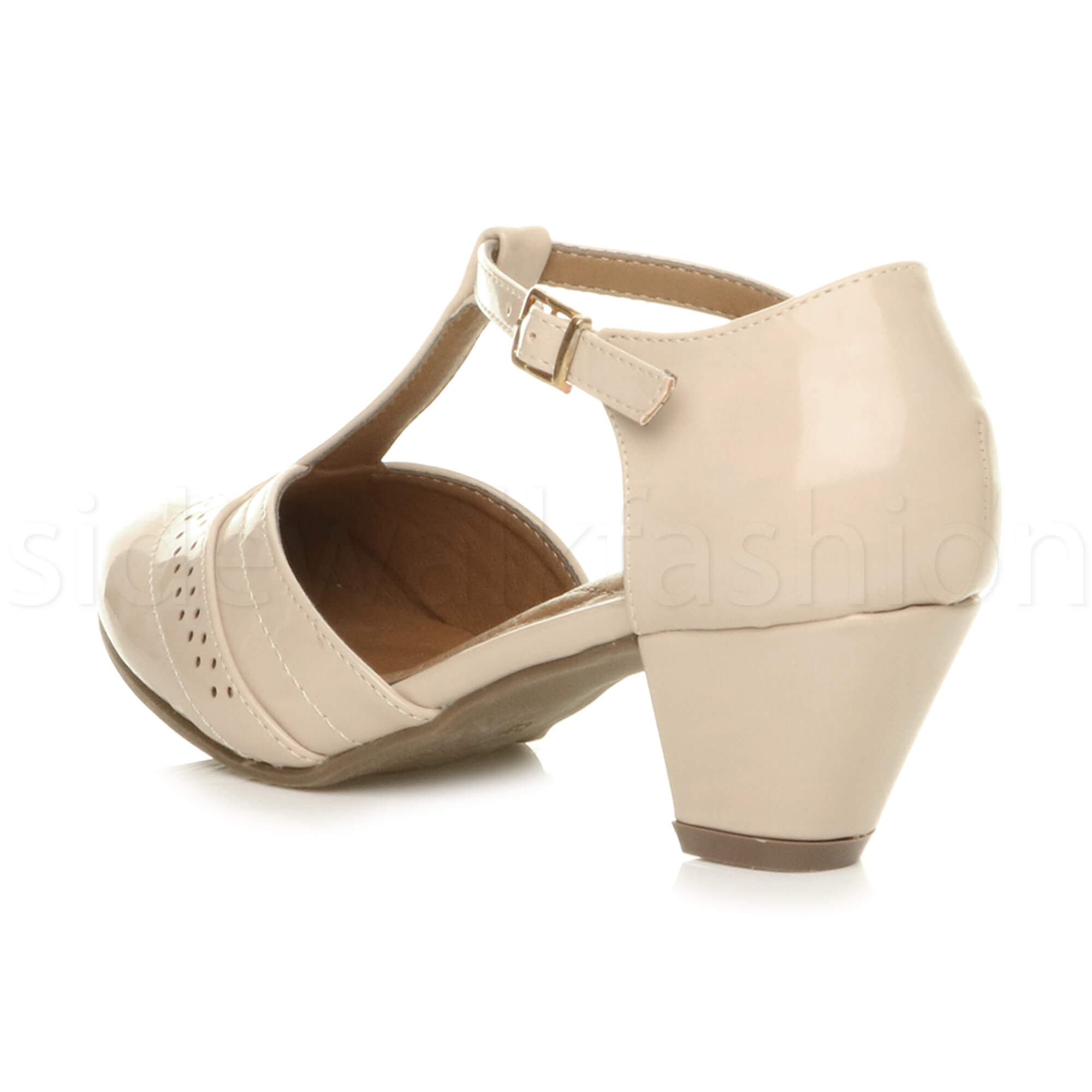 Womens-ladies-block-low-mid-heel-smart-work-Mary-Jane-T-bar-brogue-court-shoes thumbnail 54