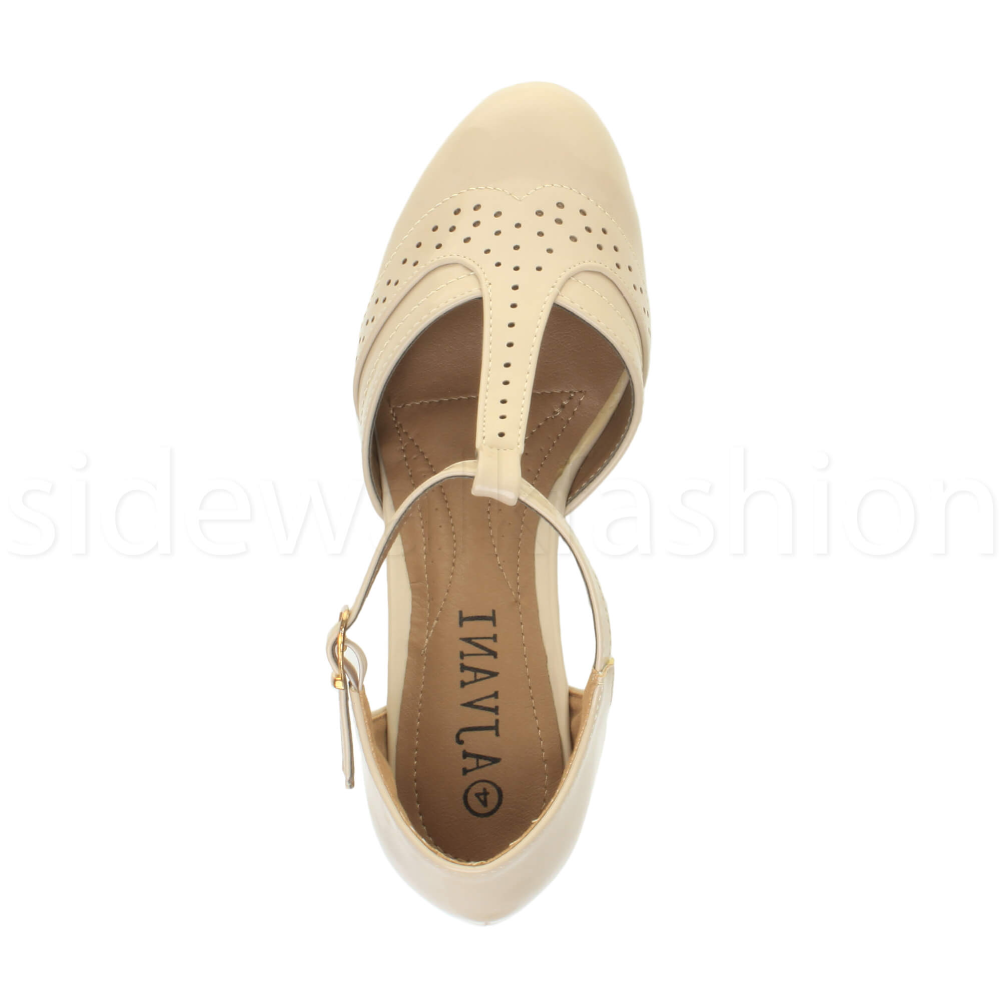 Womens-ladies-block-low-mid-heel-smart-work-Mary-Jane-T-bar-brogue-court-shoes thumbnail 55