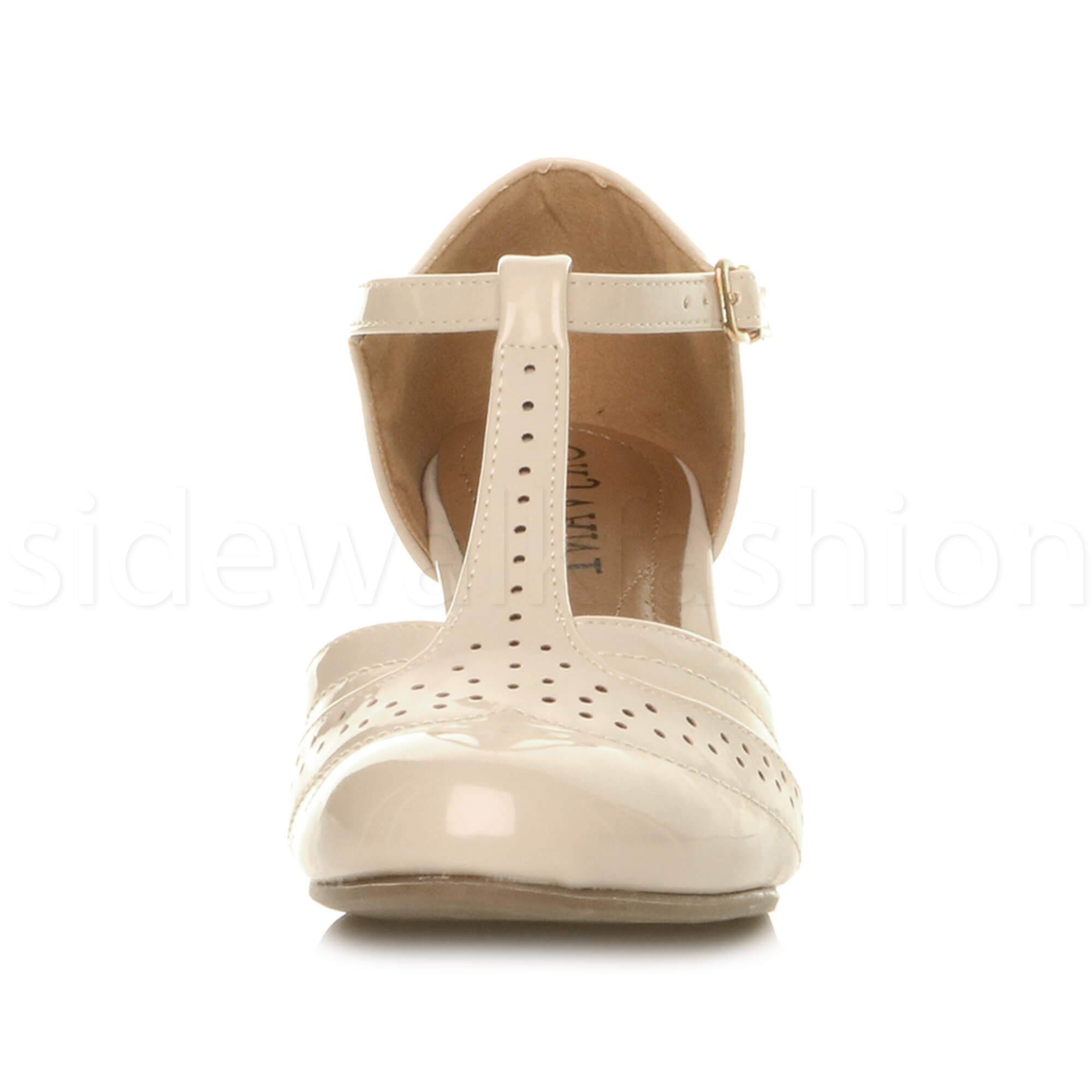 Womens-ladies-block-low-mid-heel-smart-work-Mary-Jane-T-bar-brogue-court-shoes thumbnail 56