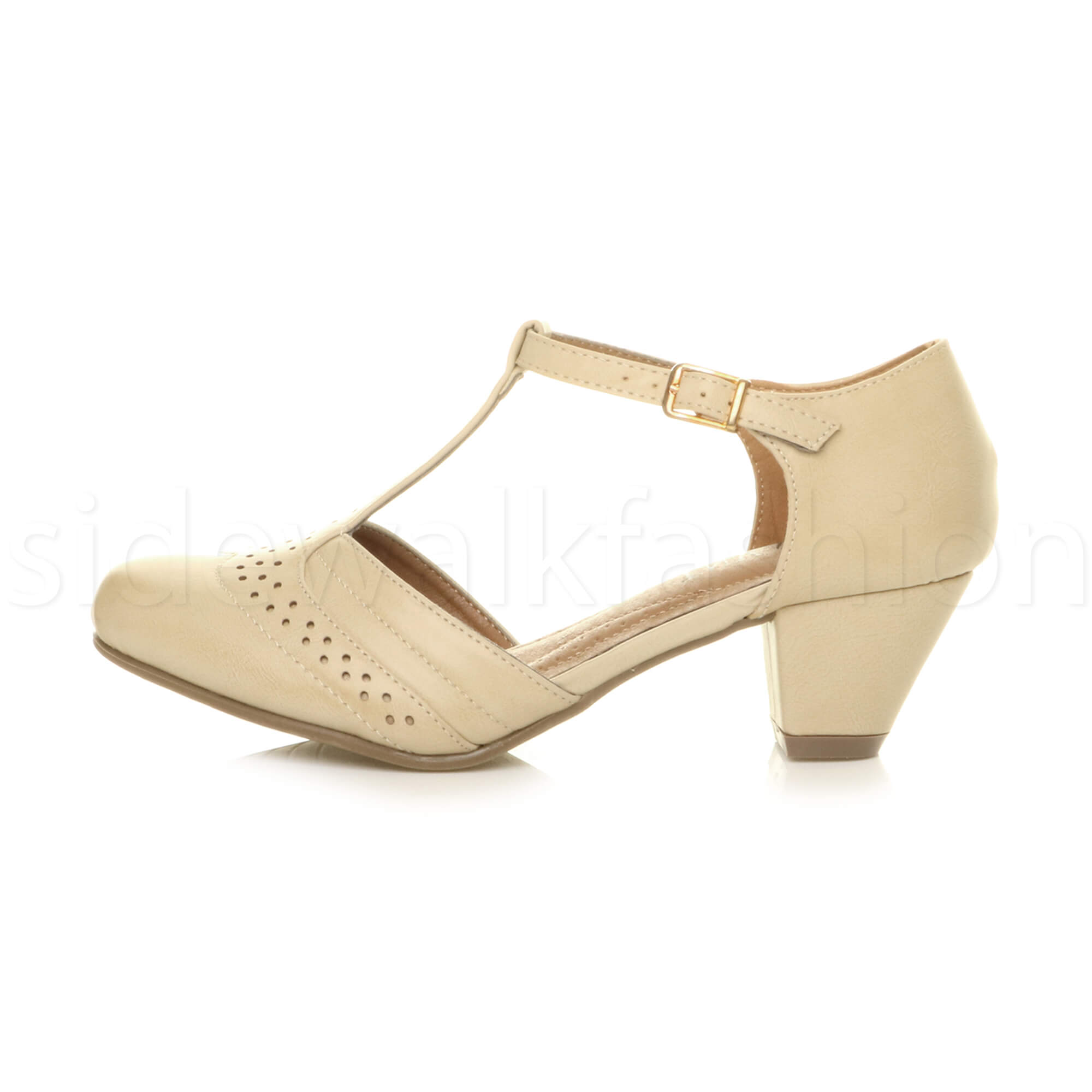 Womens-ladies-block-low-mid-heel-smart-work-Mary-Jane-T-bar-brogue-court-shoes thumbnail 45