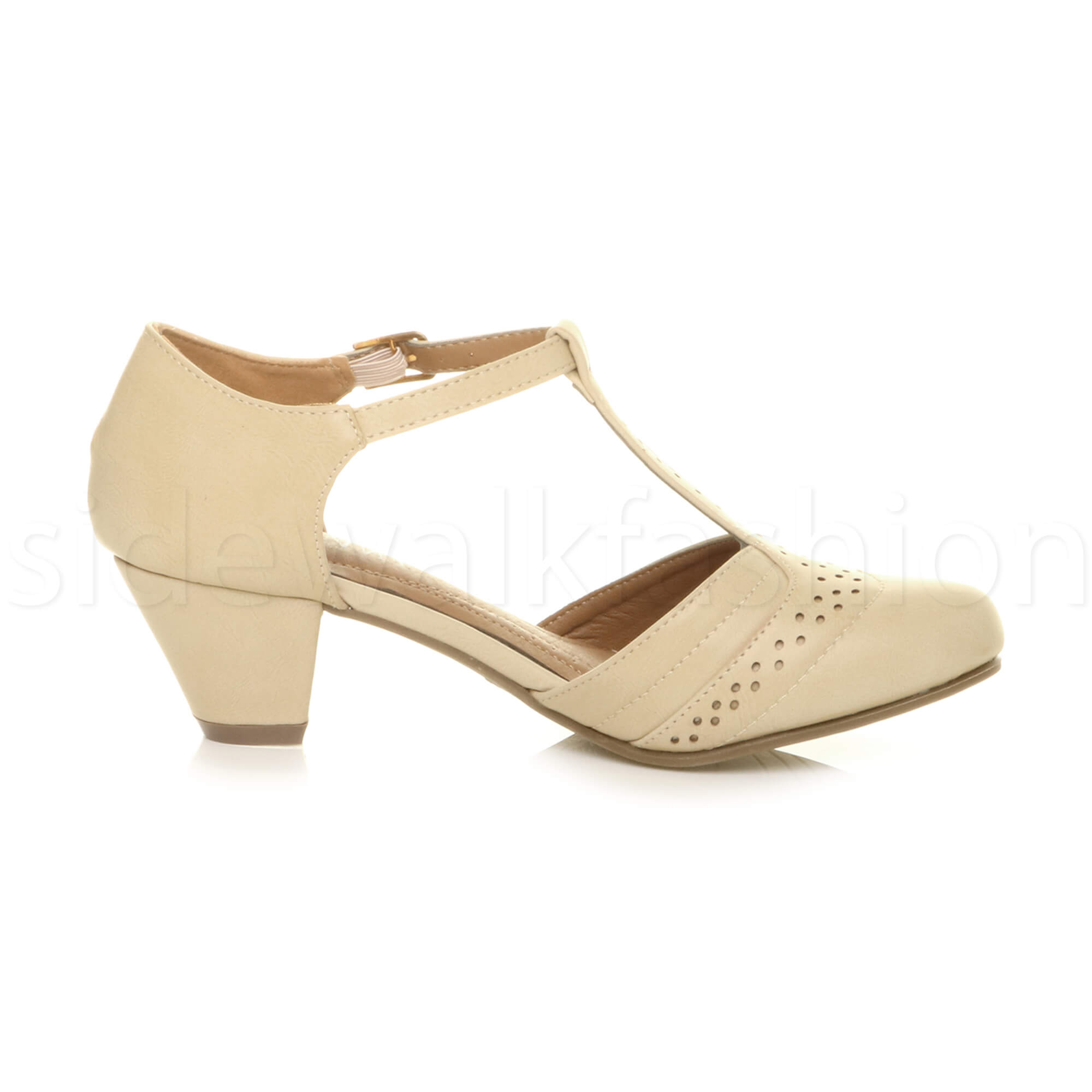 Womens-ladies-block-low-mid-heel-smart-work-Mary-Jane-T-bar-brogue-court-shoes thumbnail 46