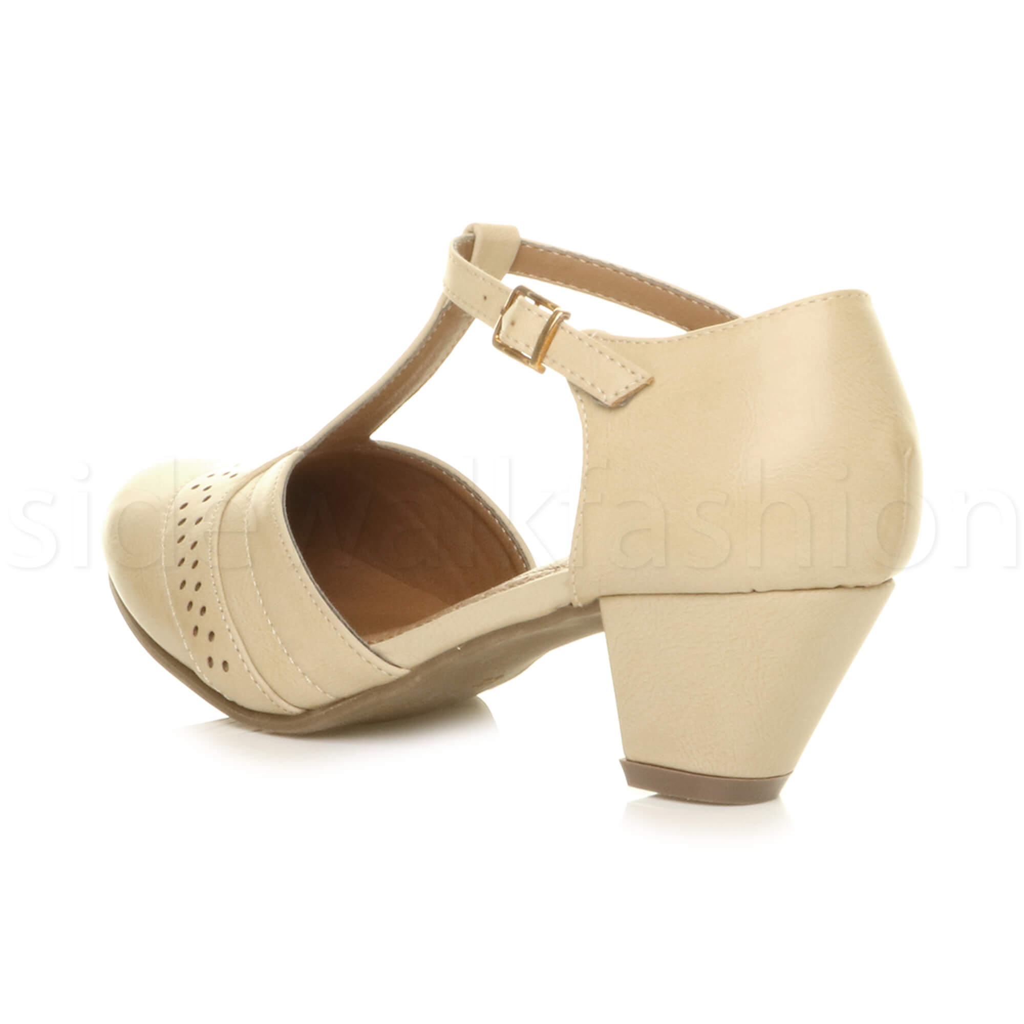 Womens-ladies-block-low-mid-heel-smart-work-Mary-Jane-T-bar-brogue-court-shoes thumbnail 47