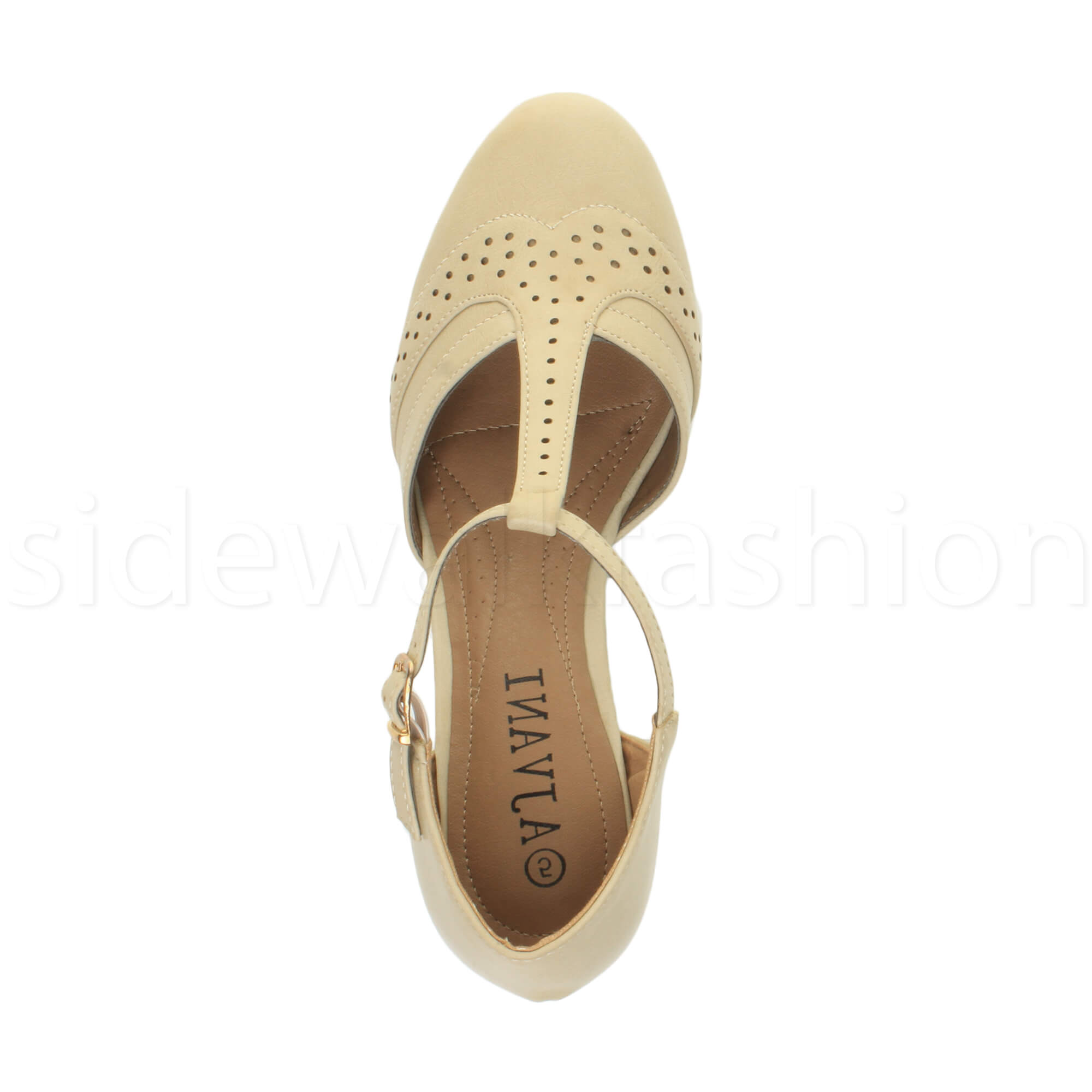 Womens-ladies-block-low-mid-heel-smart-work-Mary-Jane-T-bar-brogue-court-shoes thumbnail 48