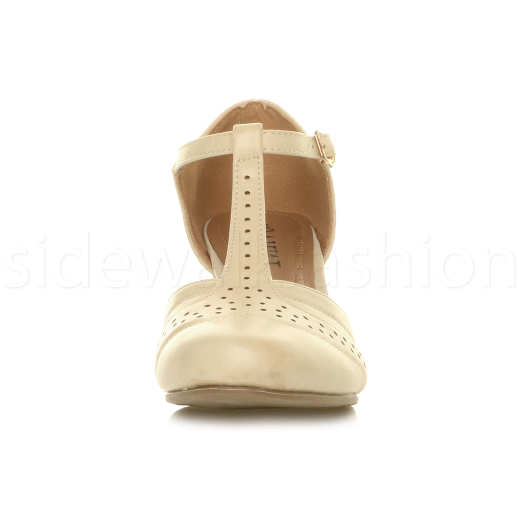 Womens-ladies-block-low-mid-heel-smart-work-Mary-Jane-T-bar-brogue-court-shoes thumbnail 49