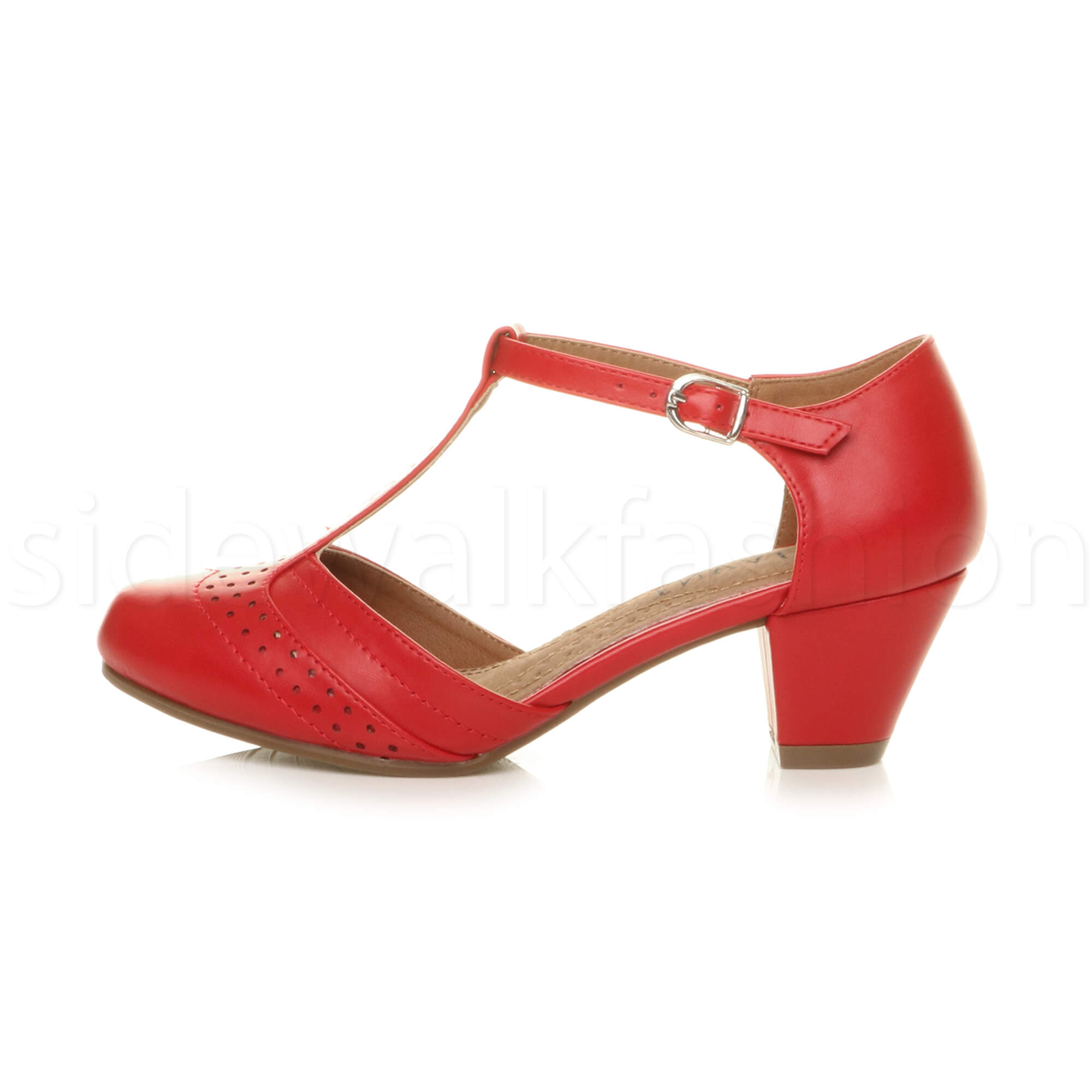 Womens-ladies-block-low-mid-heel-smart-work-Mary-Jane-T-bar-brogue-court-shoes thumbnail 59