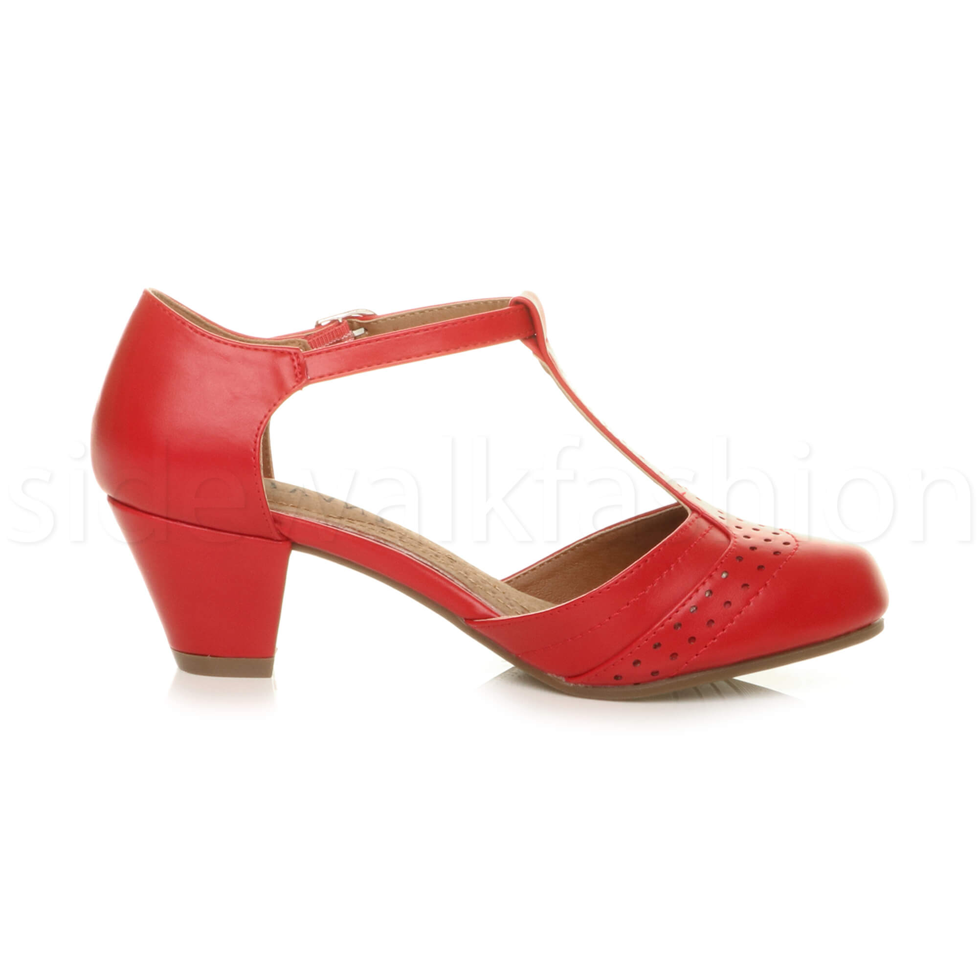 Womens-ladies-block-low-mid-heel-smart-work-Mary-Jane-T-bar-brogue-court-shoes thumbnail 60