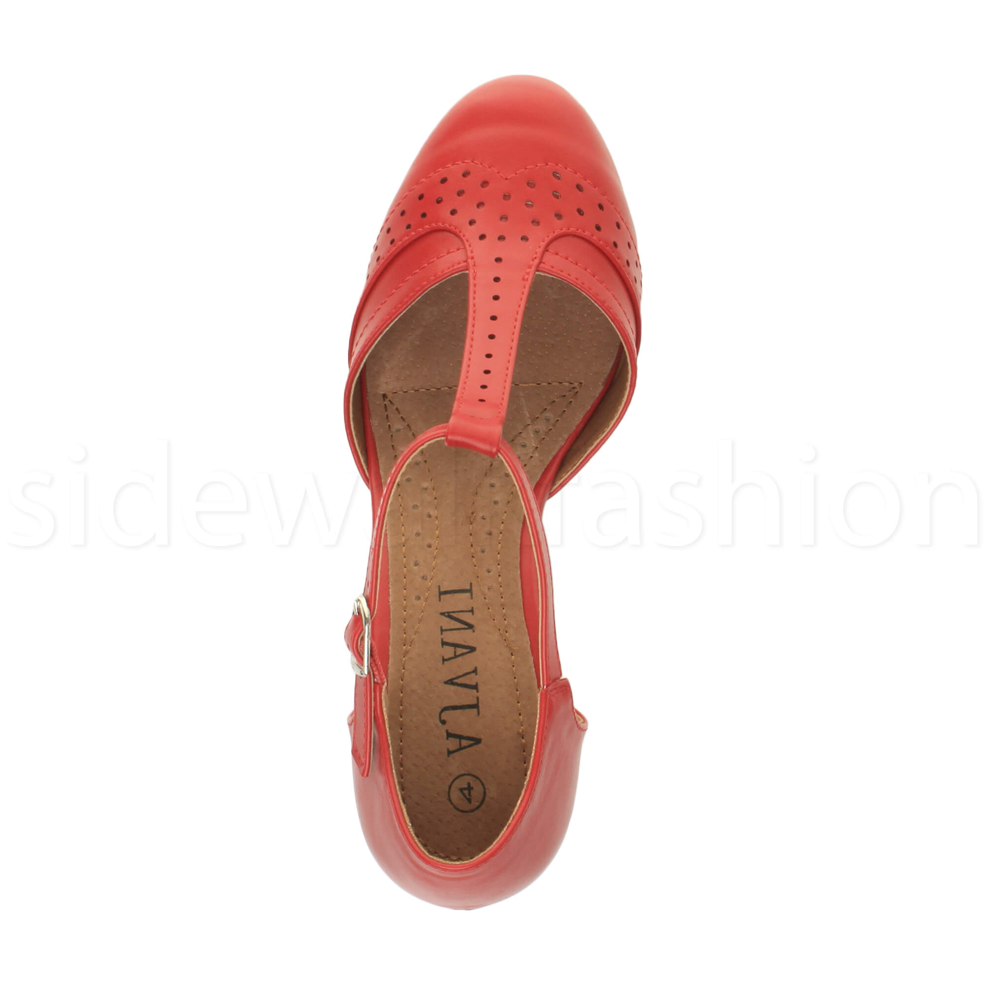 Womens-ladies-block-low-mid-heel-smart-work-Mary-Jane-T-bar-brogue-court-shoes thumbnail 62